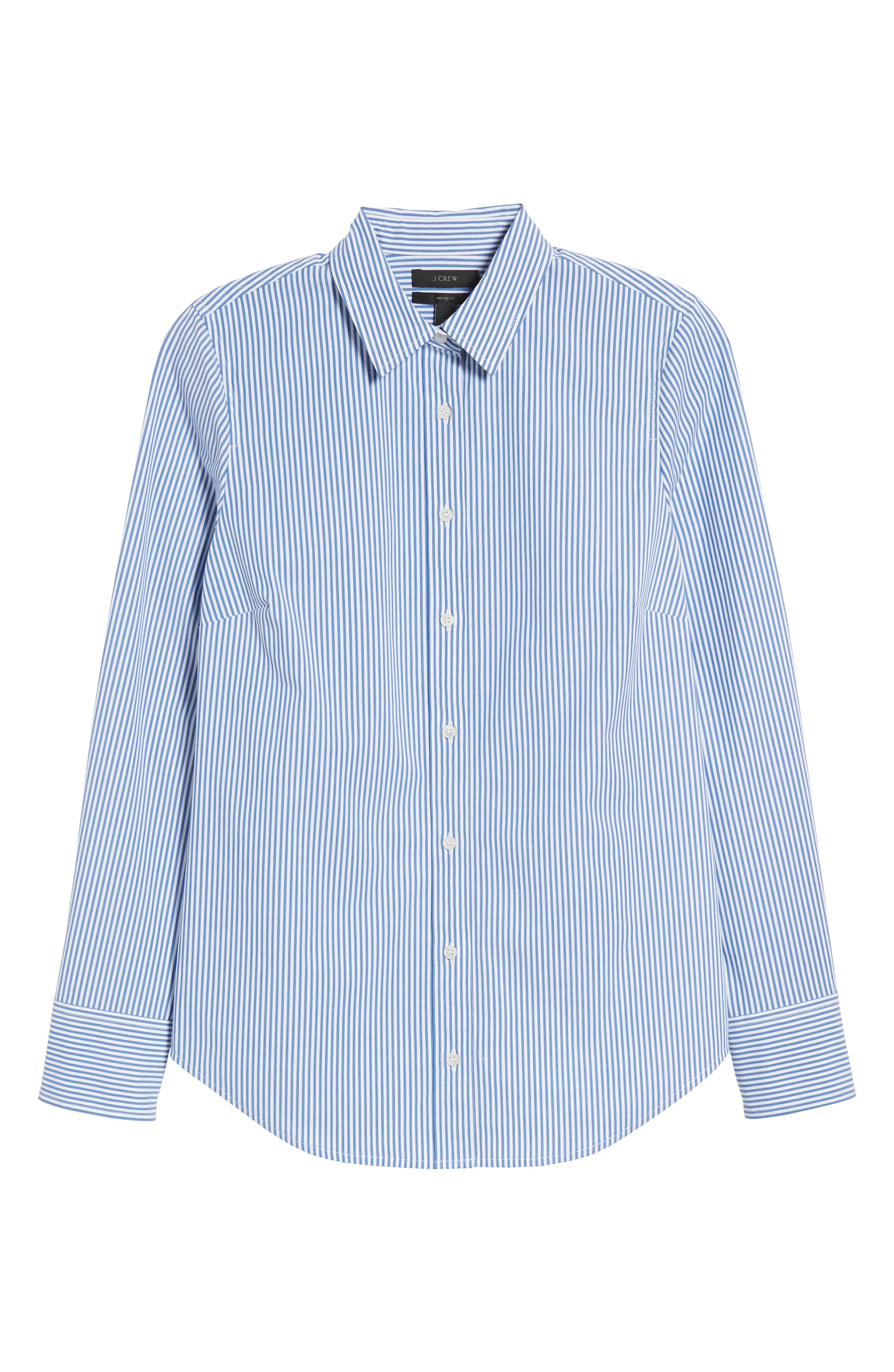 Alternate Image 6  - J.Crew Perfect Classic Stripe Stretch Cotton Shirt (Regular & Petite)