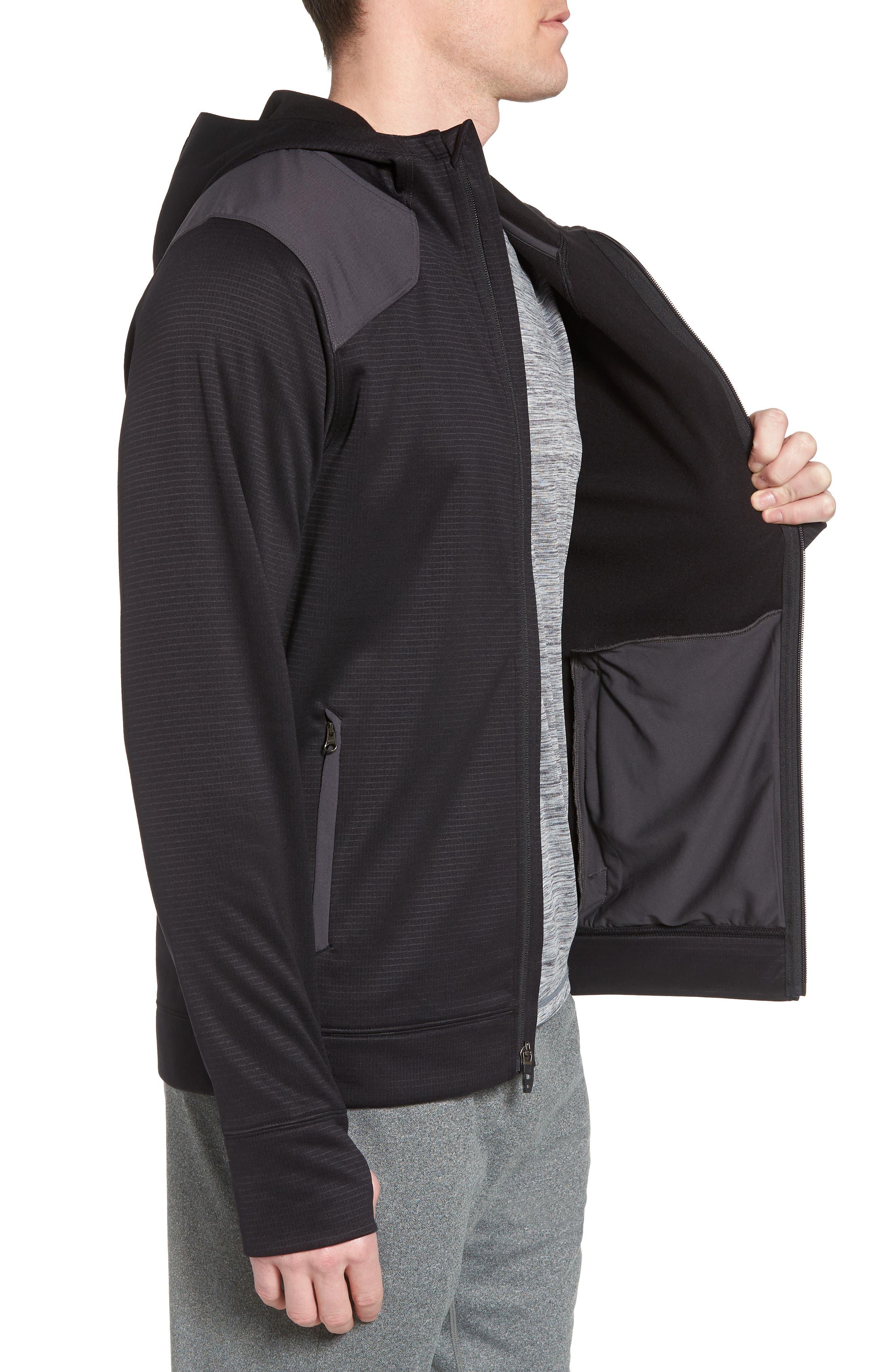 Ampere Zip Front Fleece Hoodie,                             Alternate thumbnail 3, color,                             Black