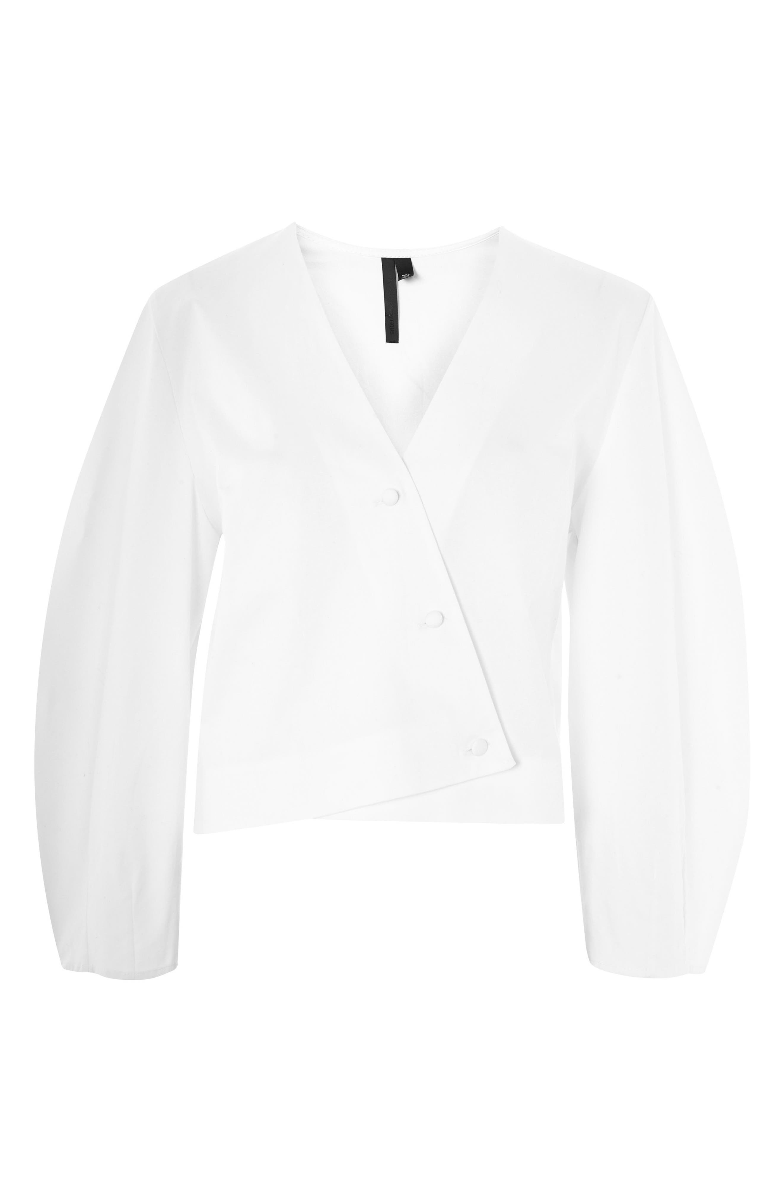 Topshop Poplin Wrap Puff Sleeve Top,                             Main thumbnail 1, color,                             White