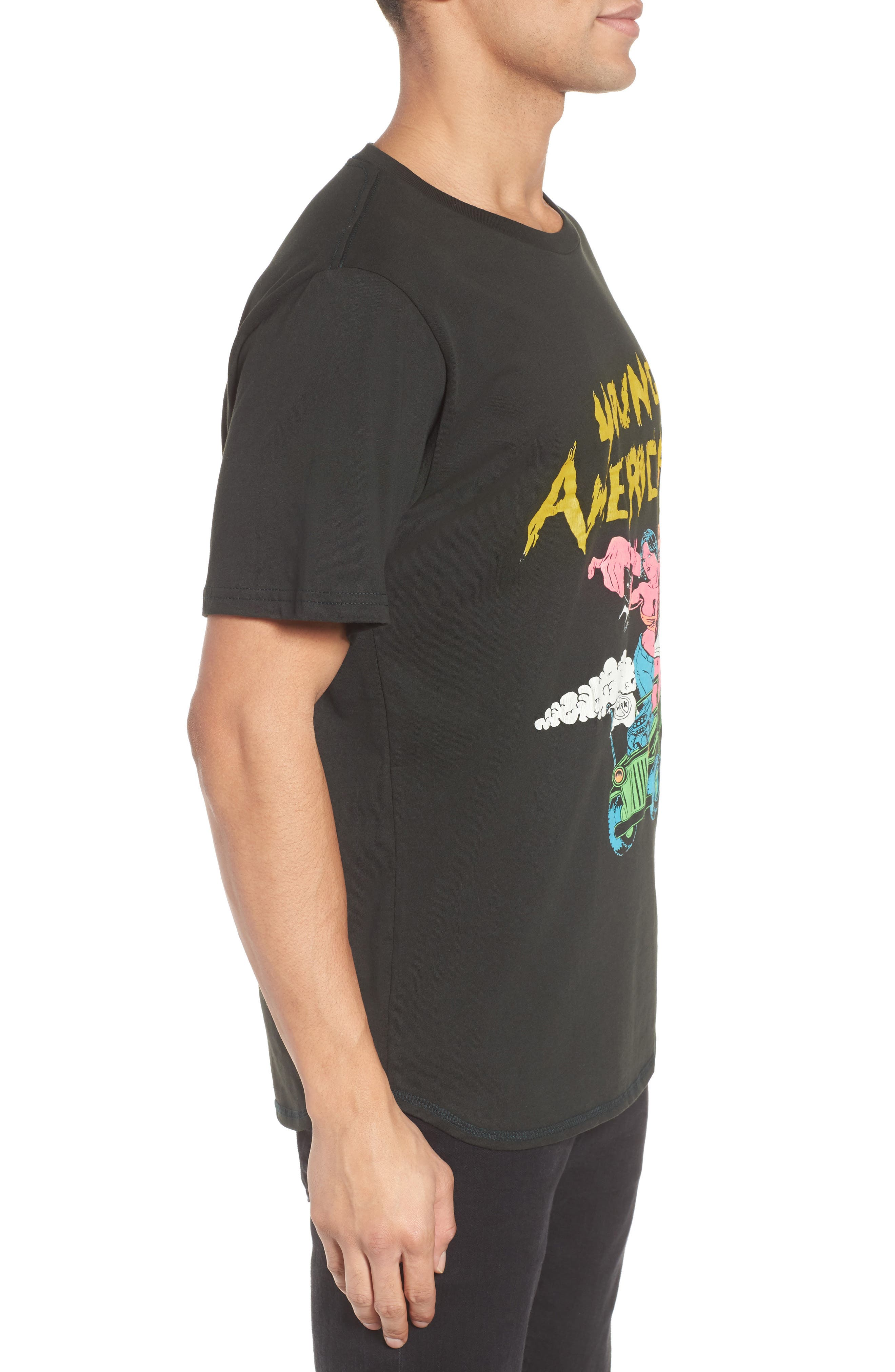 Young Americans Slim Graphic T-Shirt,                             Alternate thumbnail 3, color,                             Neon On Dusty Black