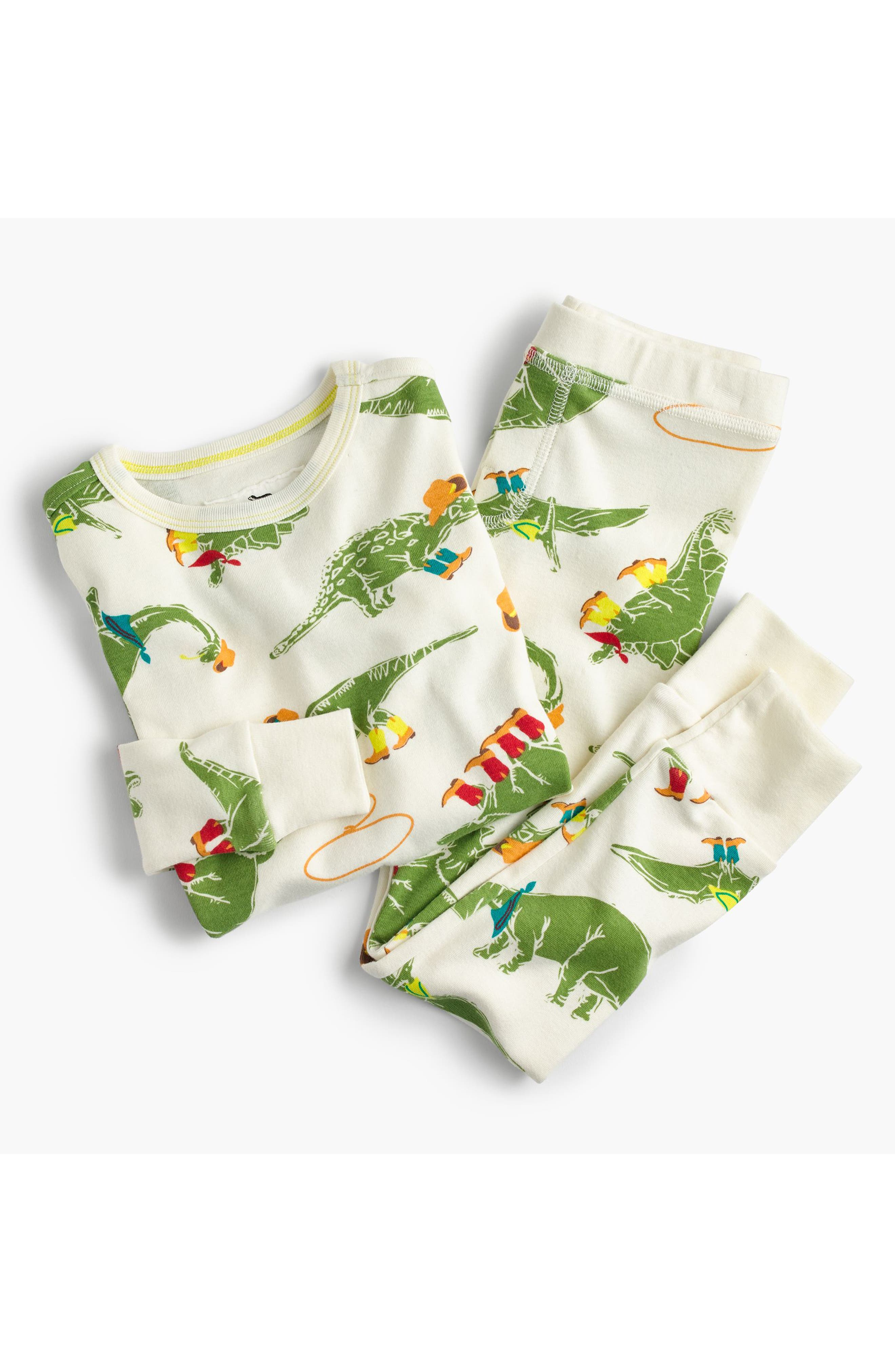 Cowboy Dinosaur Print Fitted Two-Piece Pajamas,                             Main thumbnail 1, color,                             Ivory
