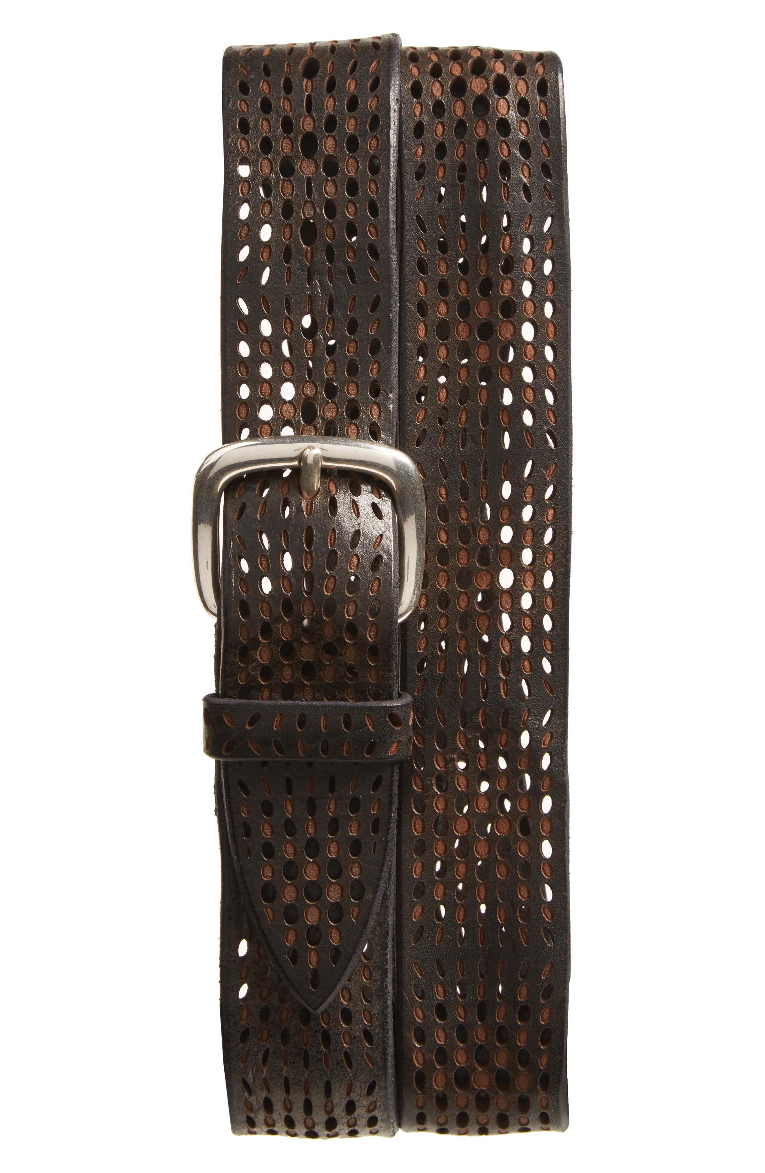 Perforated Wax Leather Belt,                         Main,                         color, Nero