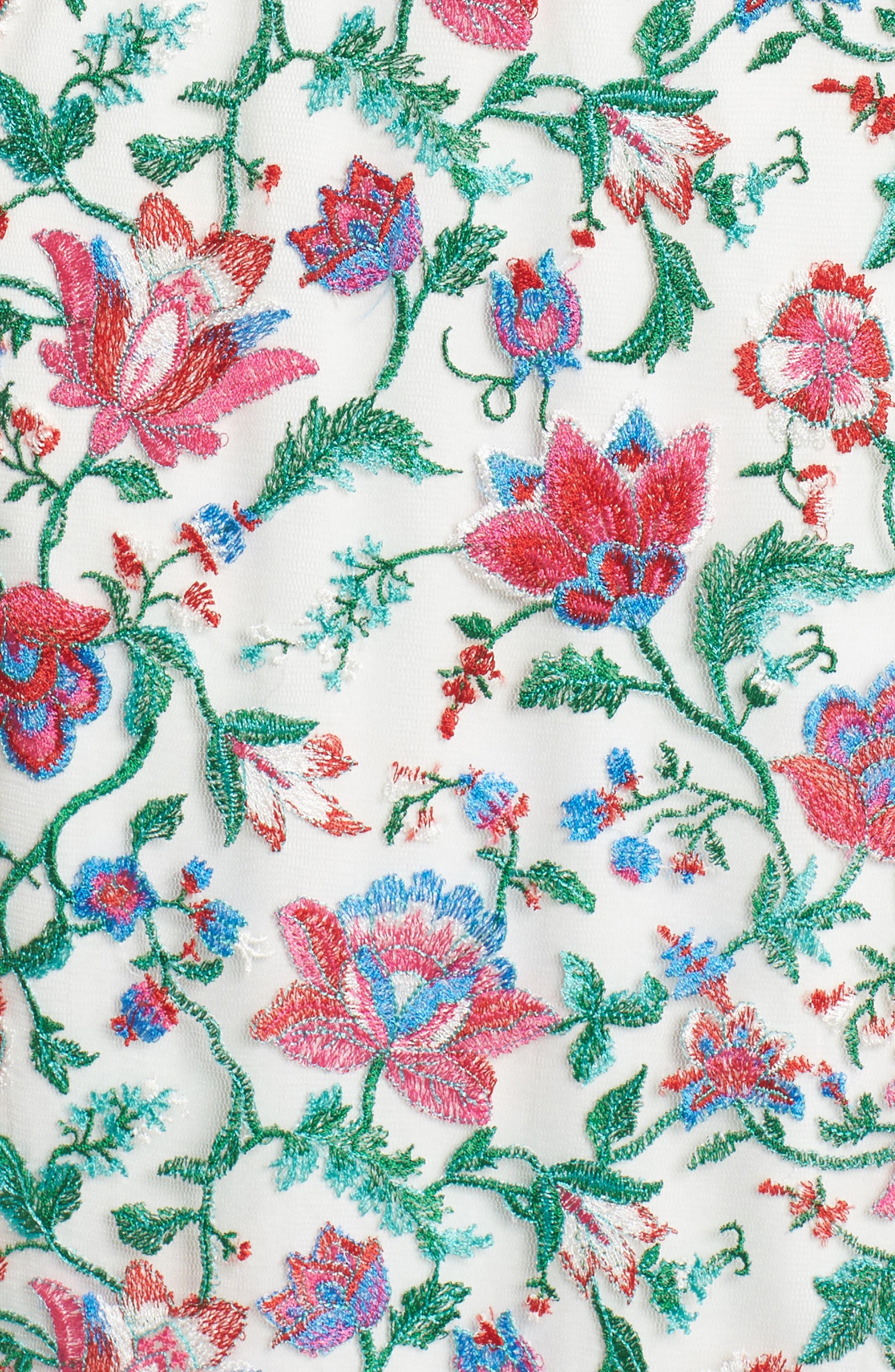 Ximena Embroidered Sheath Dress,                             Alternate thumbnail 5, color,                             White/ Dahlia