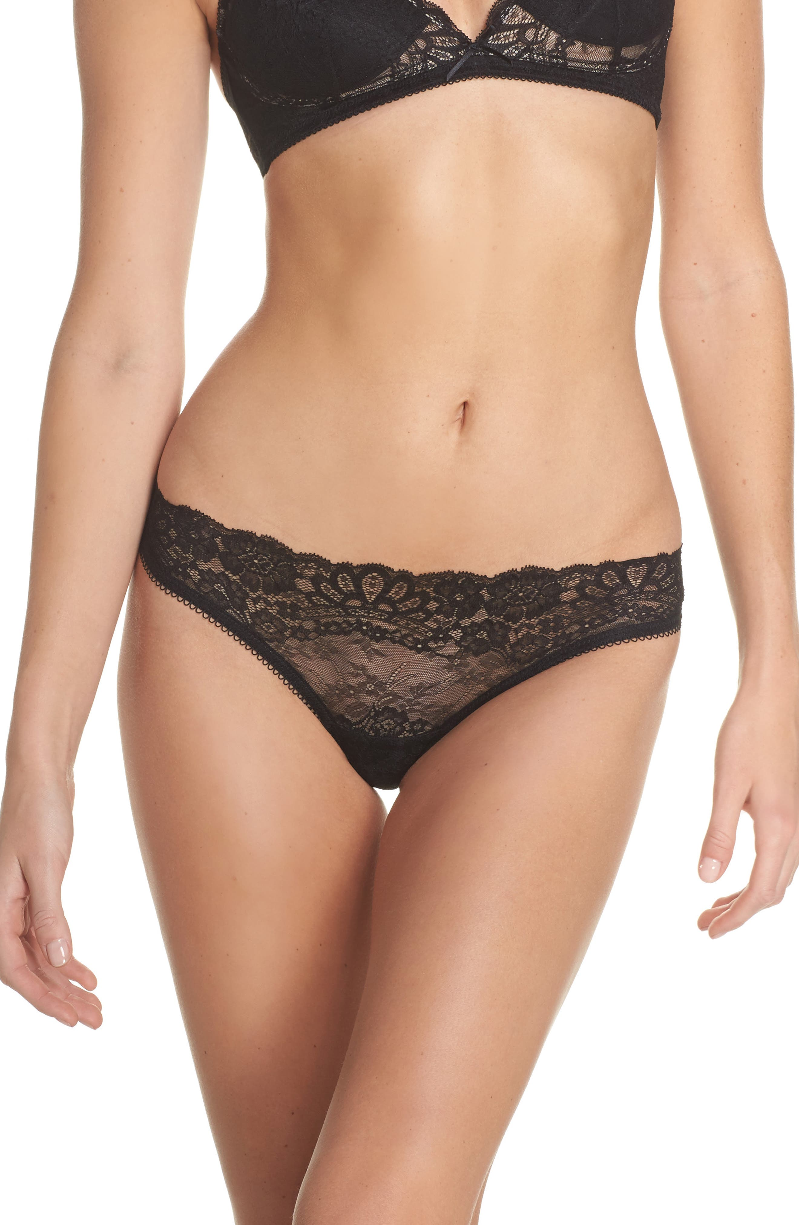 Lace Cheeky Panties,                         Main,                         color, Black