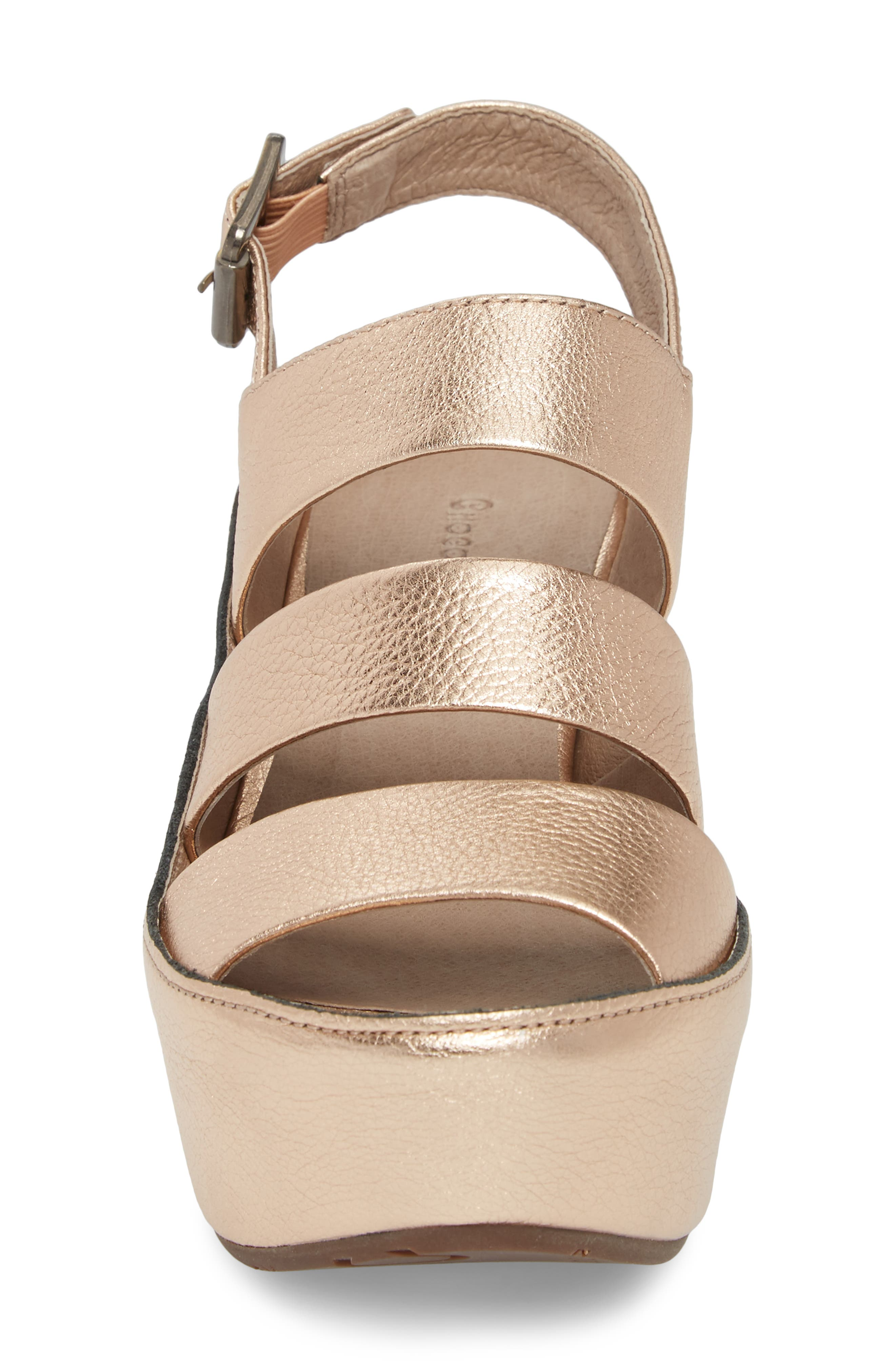 Windsor Platform Wedge Sandal,                             Alternate thumbnail 4, color,                             Rose Gold Leather
