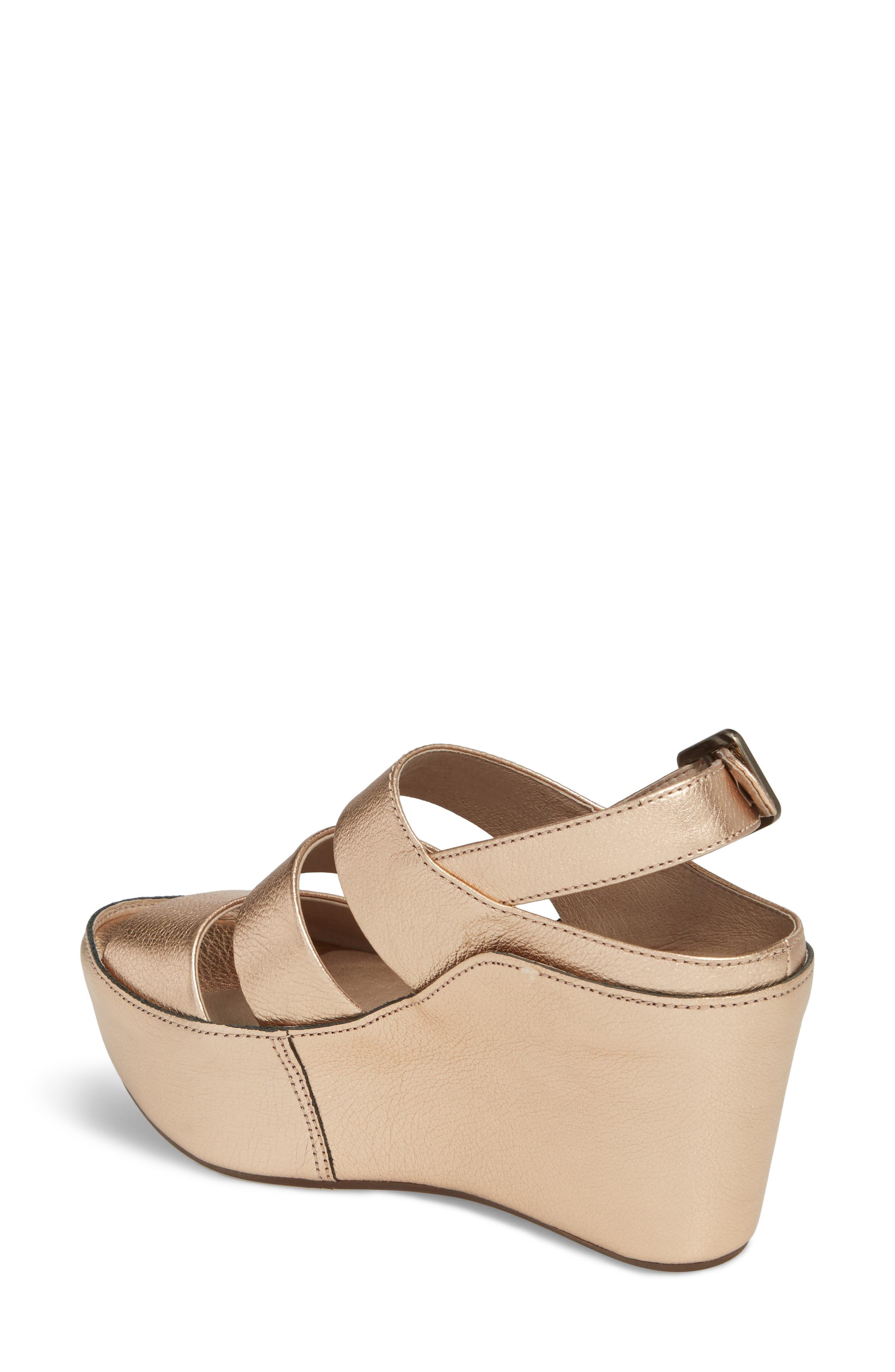 Windsor Platform Wedge Sandal,                             Alternate thumbnail 2, color,                             Rose Gold Leather