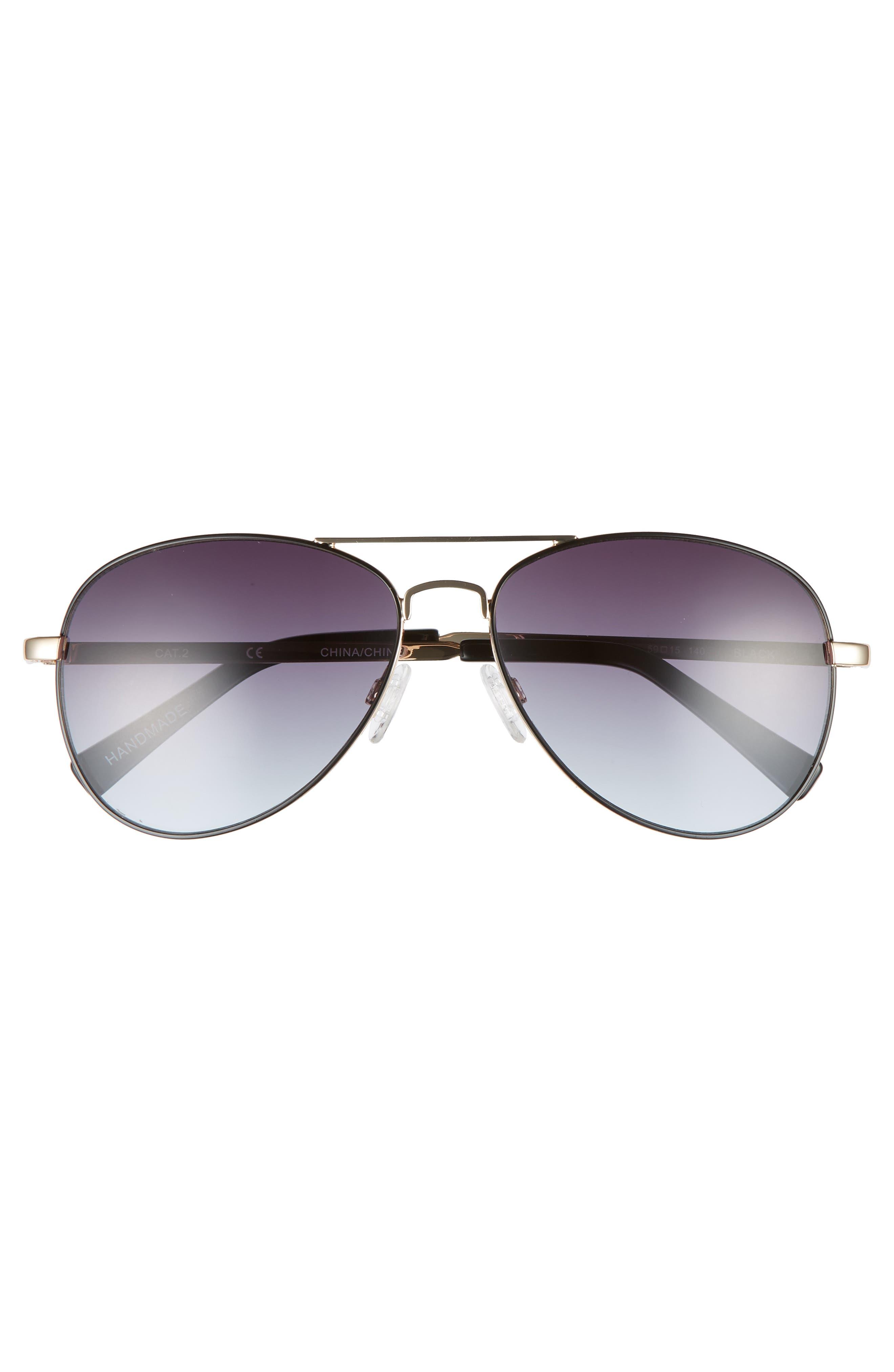 Alibi 59mm Metal Aviator Sunglasses,                             Alternate thumbnail 3, color,                             Gold- Black Epoxy