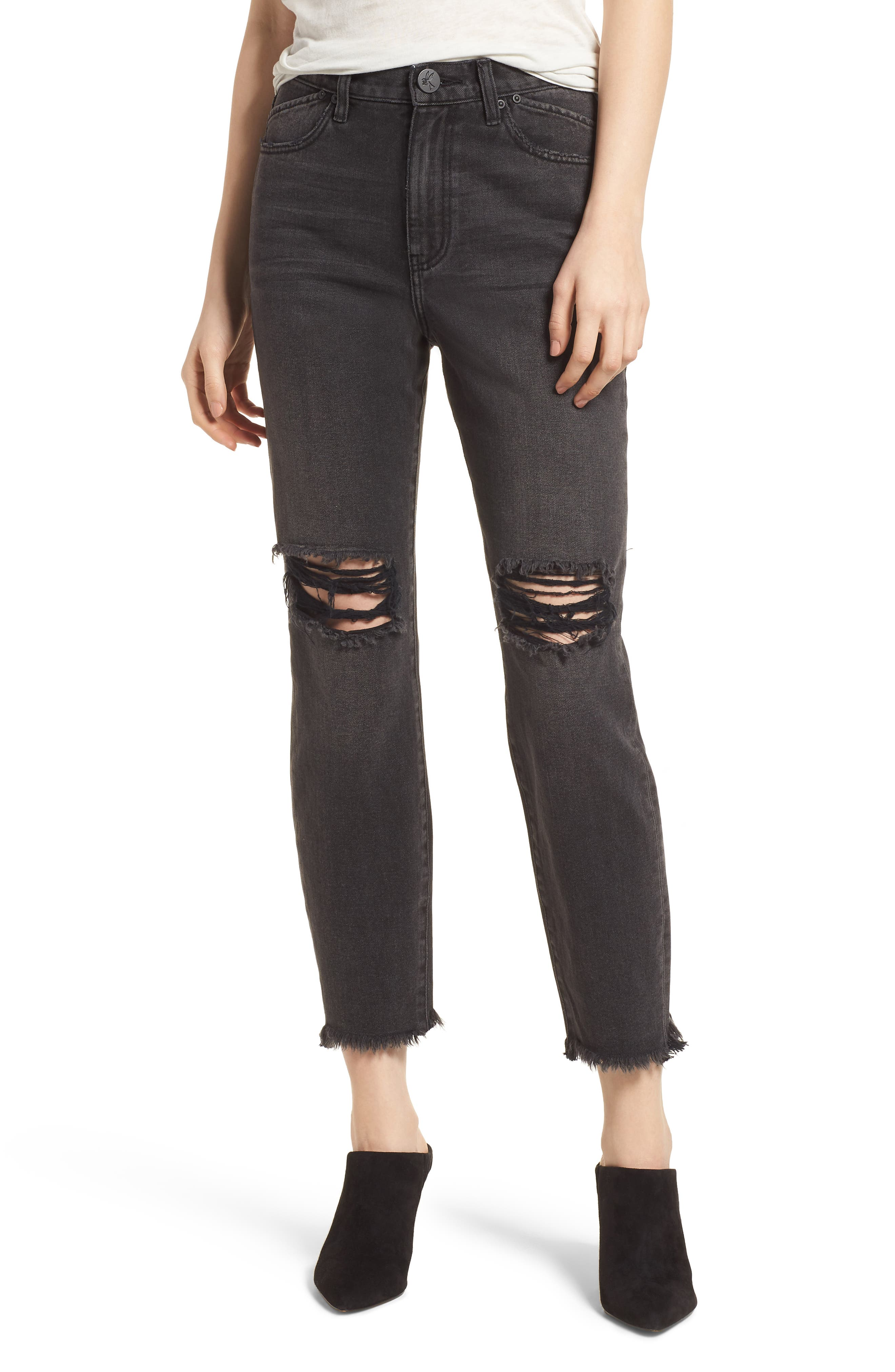 Legend Distressed Mom Jeans,                             Main thumbnail 1, color,                             Double Bass