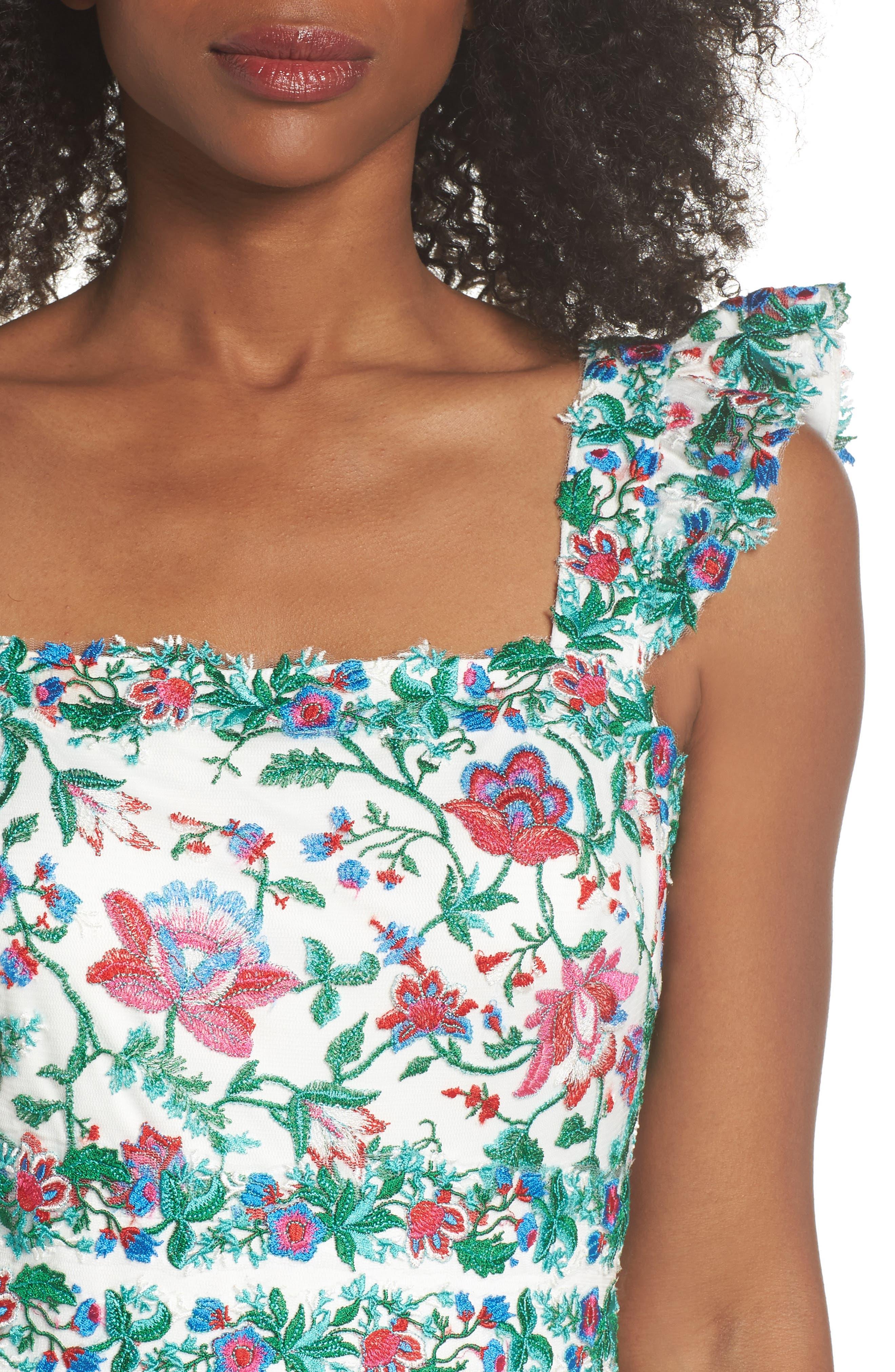 Ximena Embroidered Sheath Dress,                             Alternate thumbnail 4, color,                             White/ Dahlia