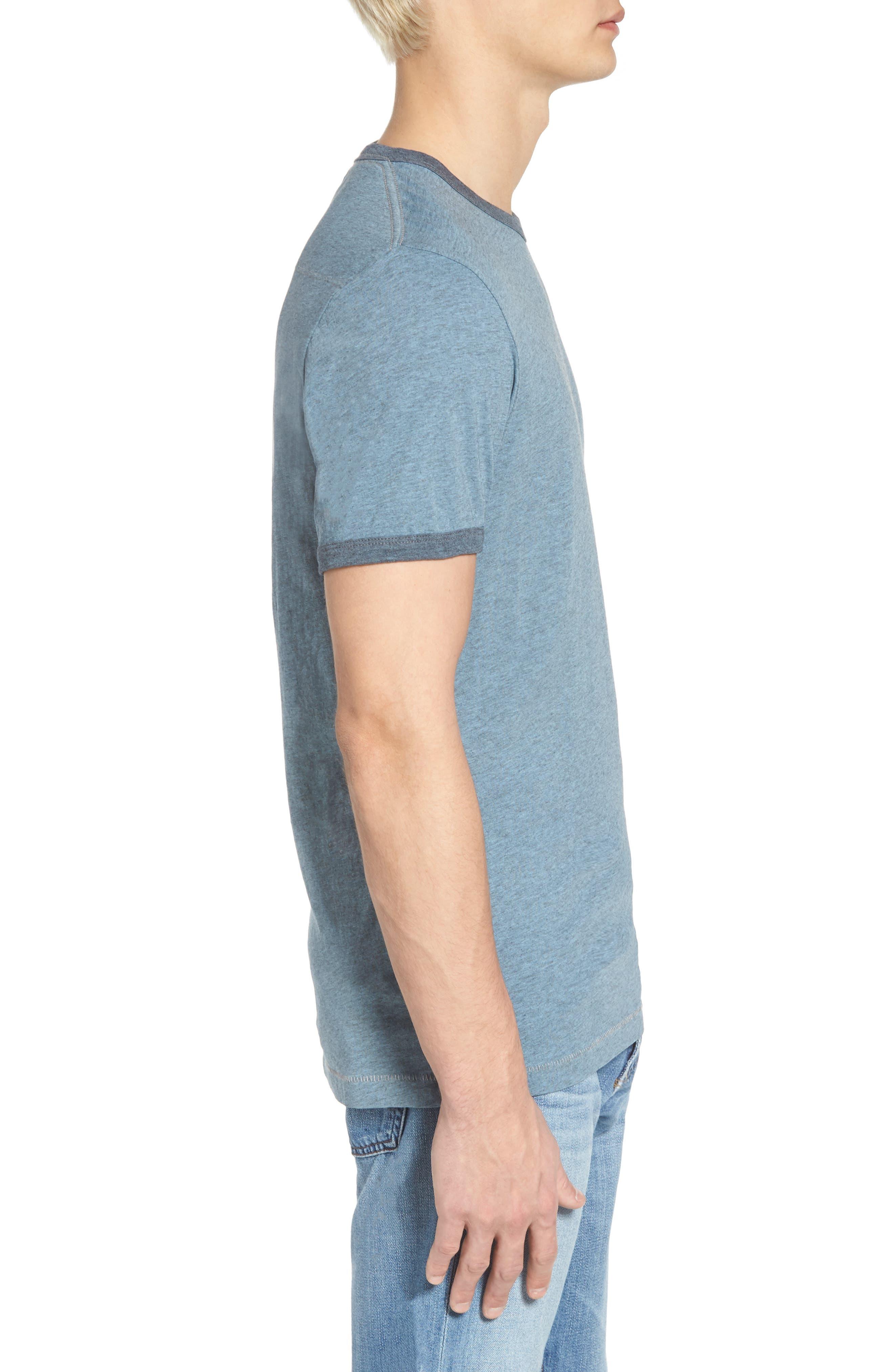 Bens Slim Fit Ringer T-Shirt,                             Alternate thumbnail 3, color,                             Overdyed Ashley Blue