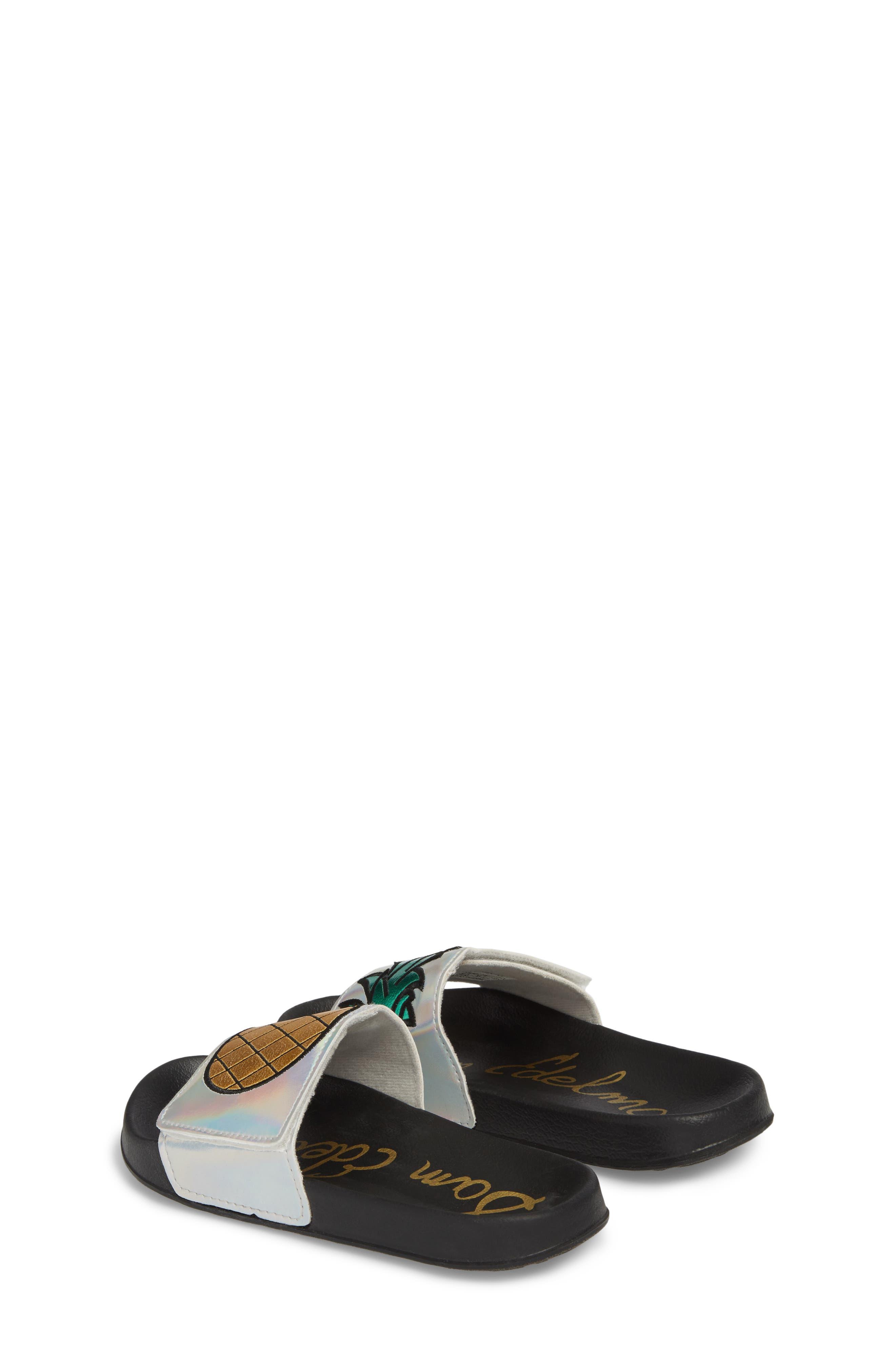 Mackie Pineapple Metallic Slide Sandal,                             Alternate thumbnail 3, color,                             Silver Holographic Leather