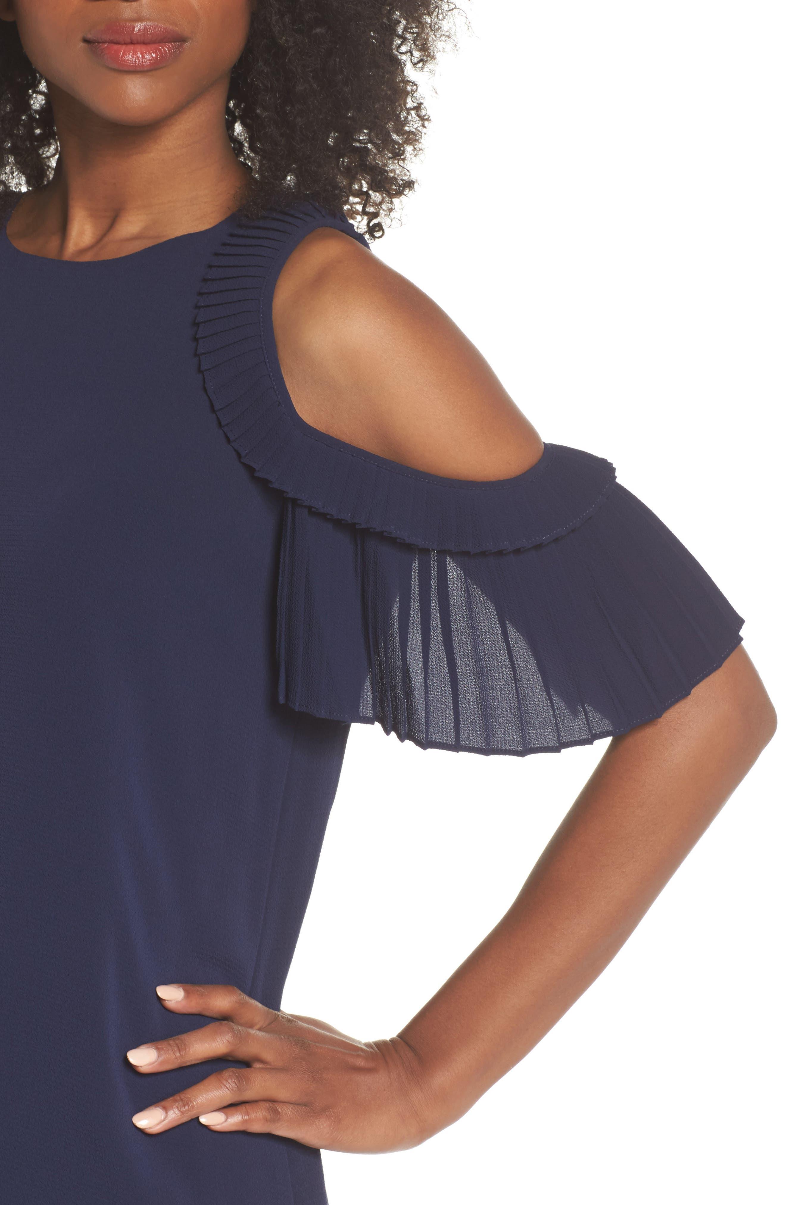 Cold Shoulder Shift Dress,                             Alternate thumbnail 4, color,                             Galaxy Blue