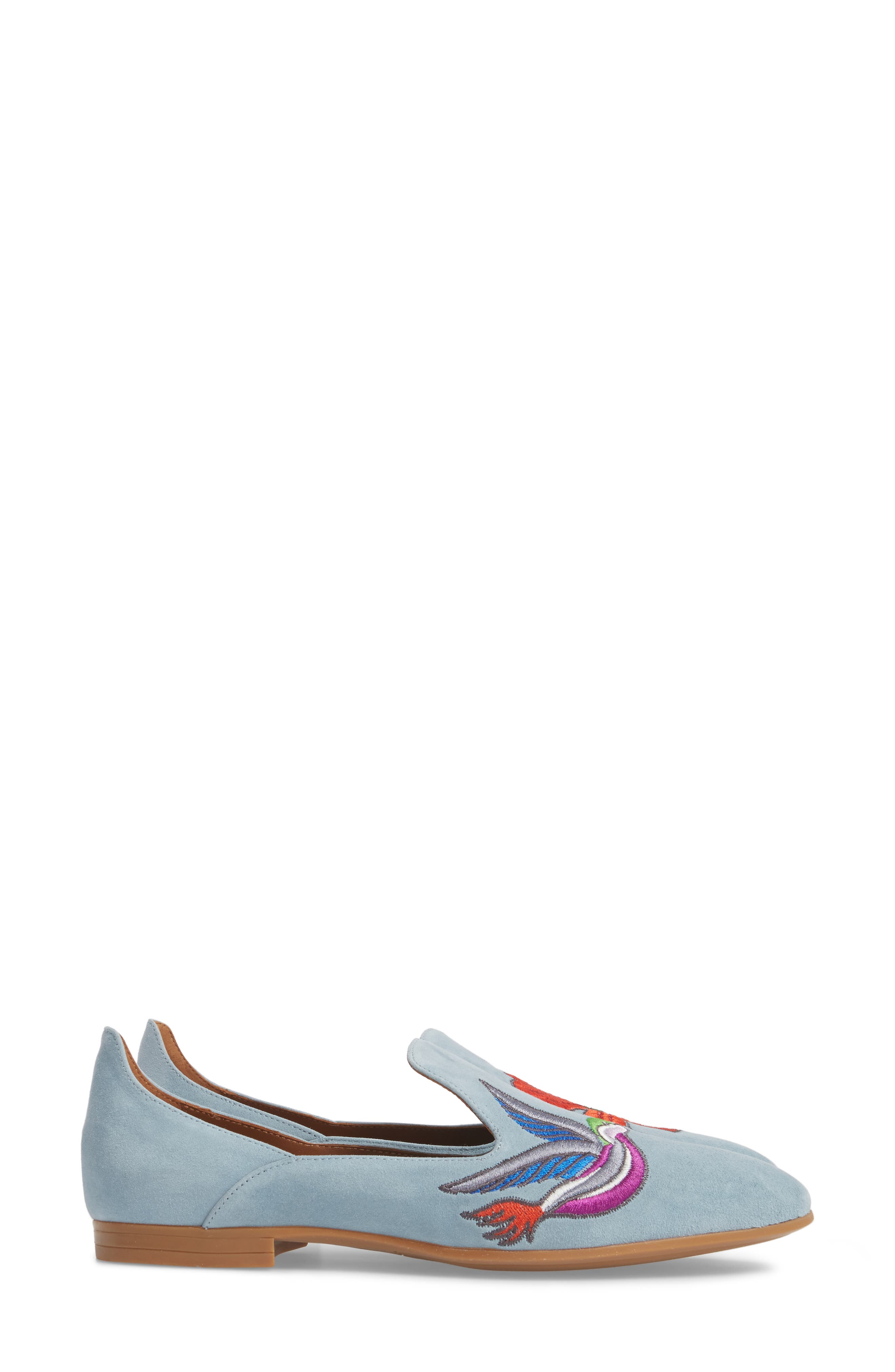 Emmaline Embroidered Loafer,                             Alternate thumbnail 4, color,                             Chambray