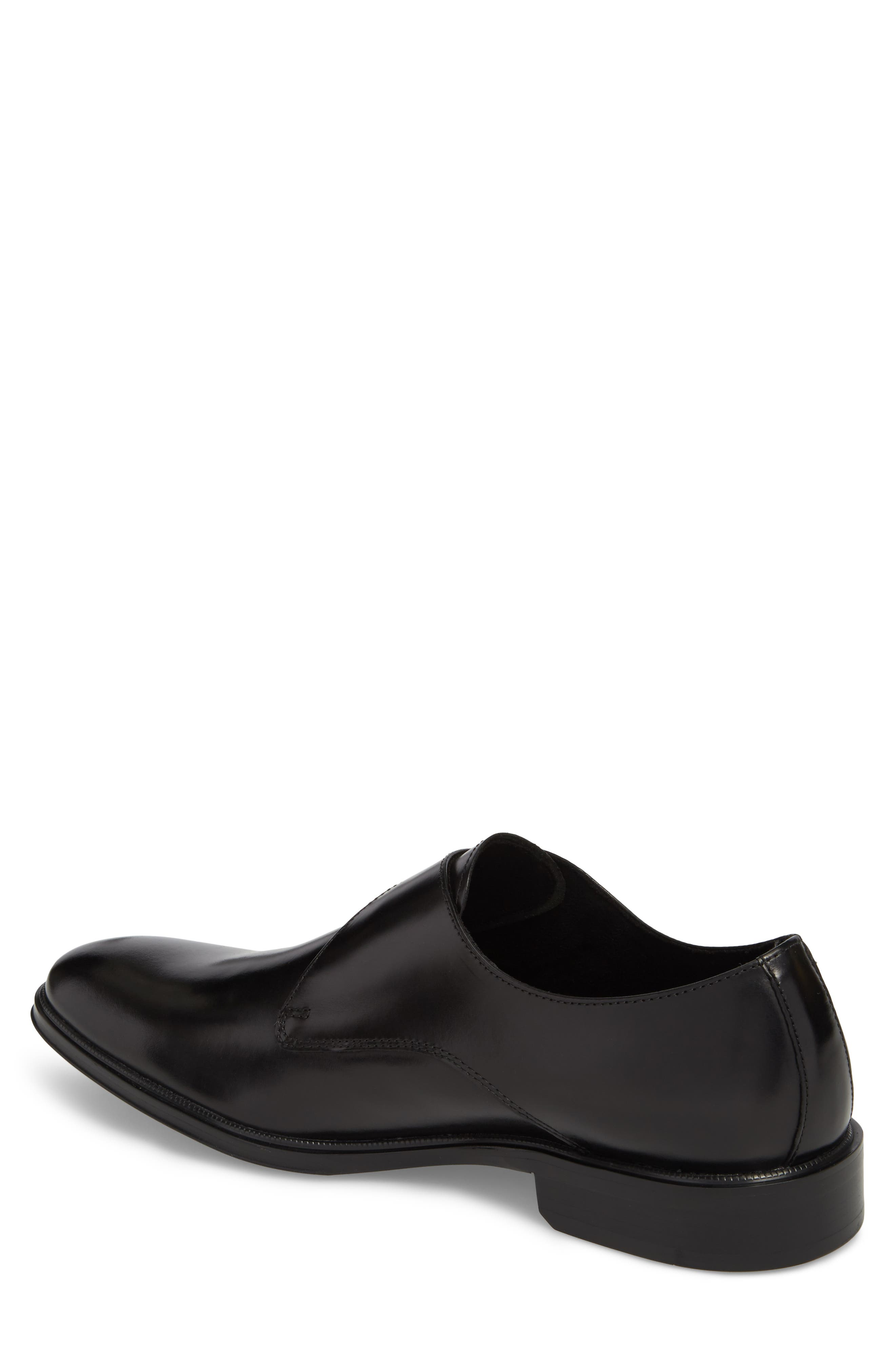 Tully Single Buckle Monk Shoe,                             Alternate thumbnail 2, color,                             Black Leather