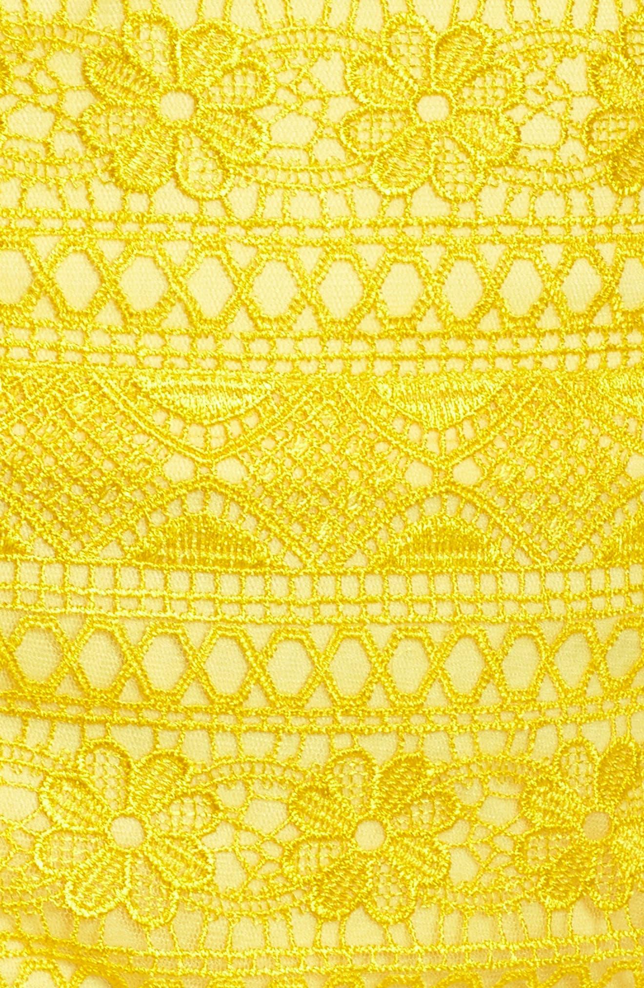 Sol Strapless Lace Midi Dress,                             Alternate thumbnail 5, color,                             Yellow Opal