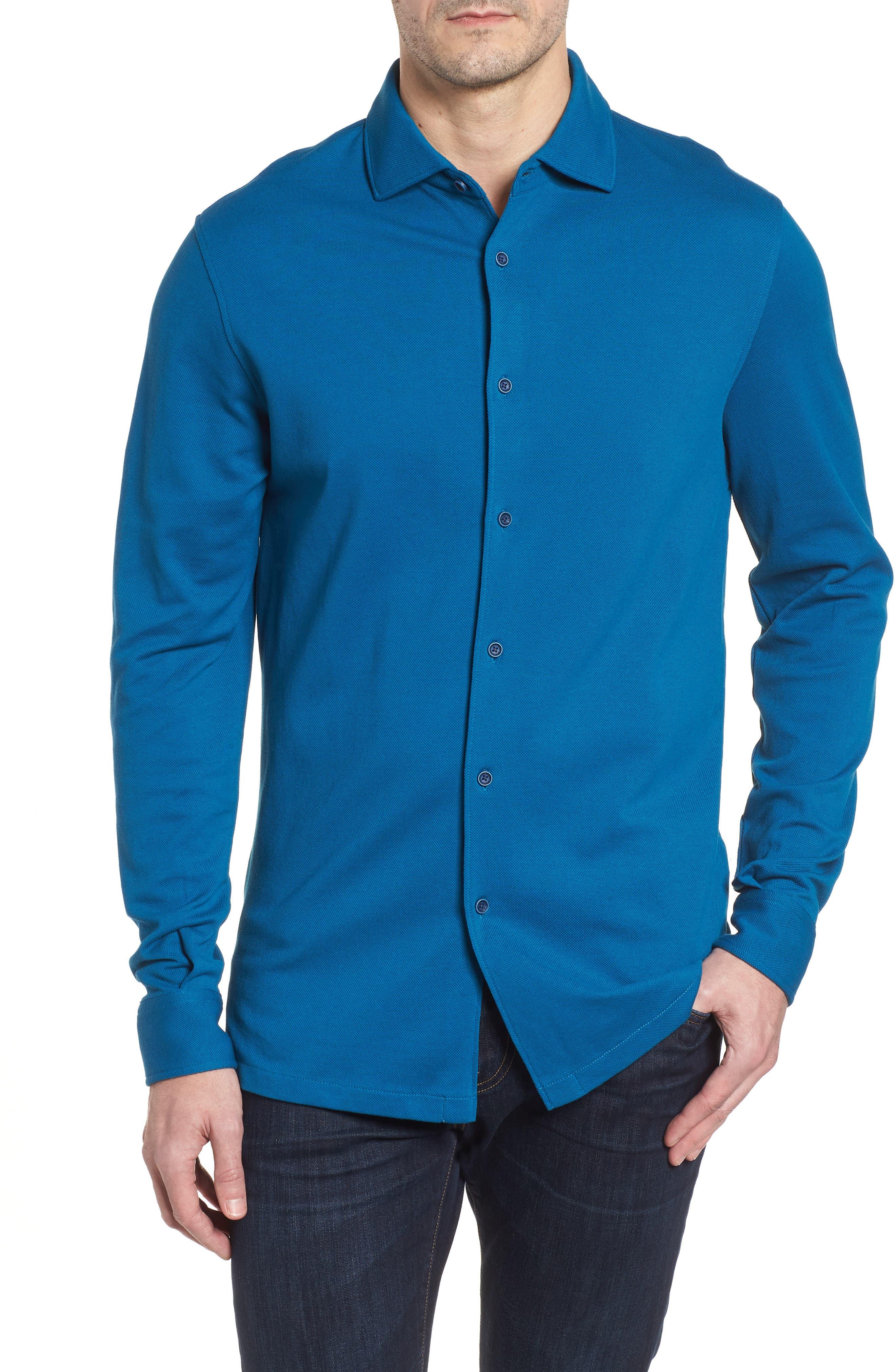 Regular Fit Knit Sport Shirt,                             Main thumbnail 1, color,                             Teal