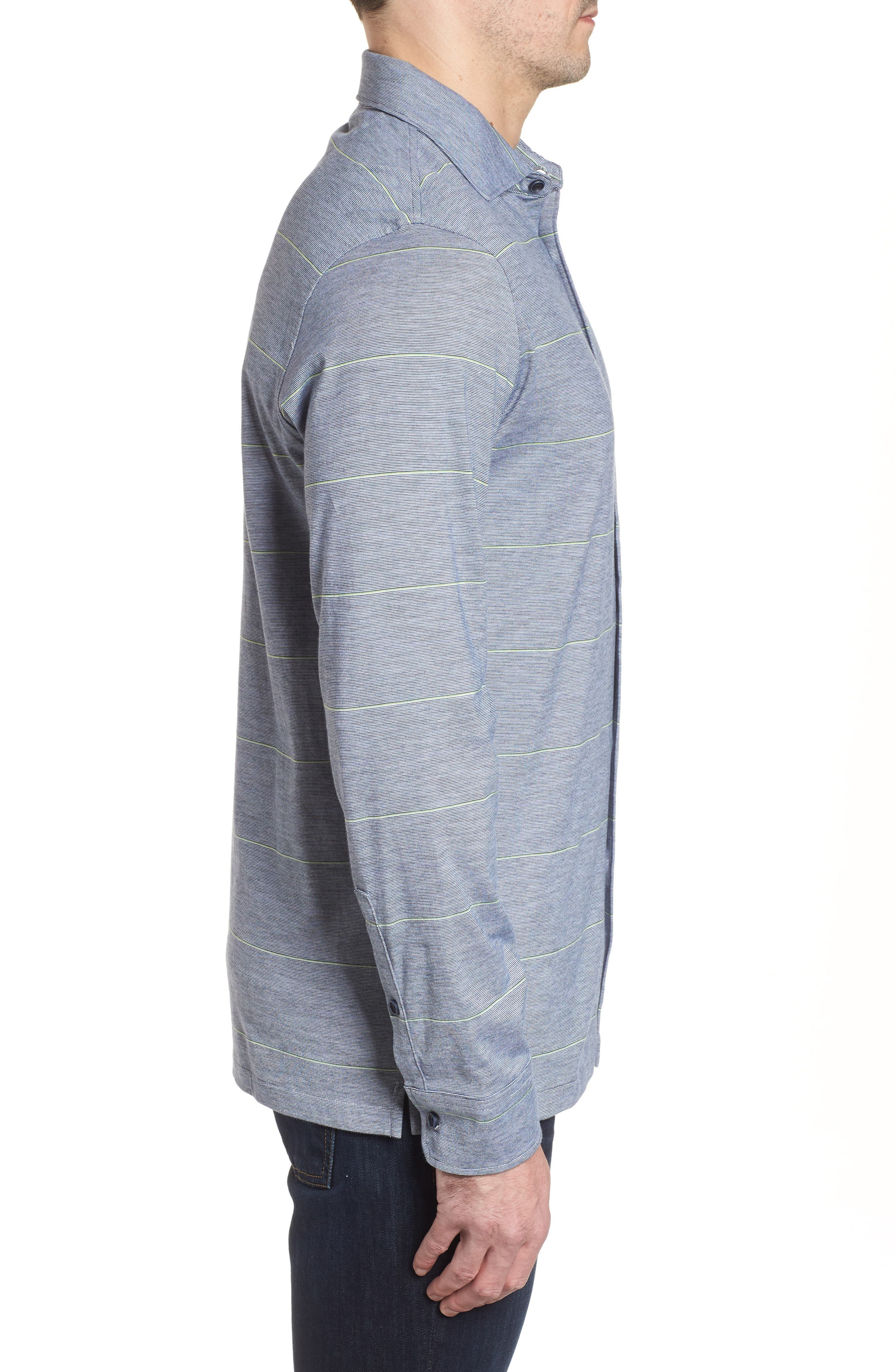 Regular Fit Stripe Knit Sport Shirt,                             Alternate thumbnail 3, color,                             Platinum