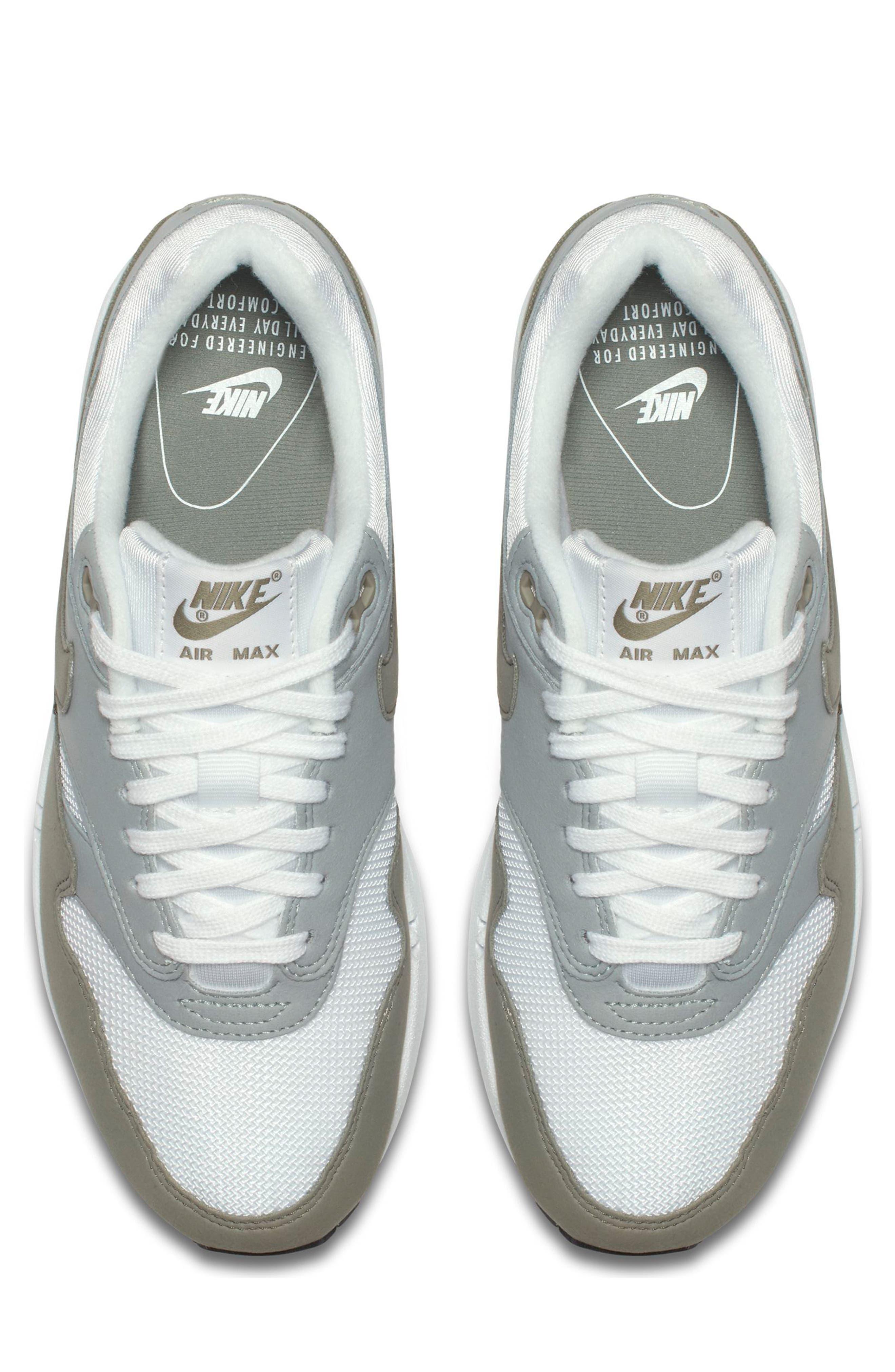 Air Max 1 Sneaker,                             Alternate thumbnail 4, color,                             White/ Dark Stucco