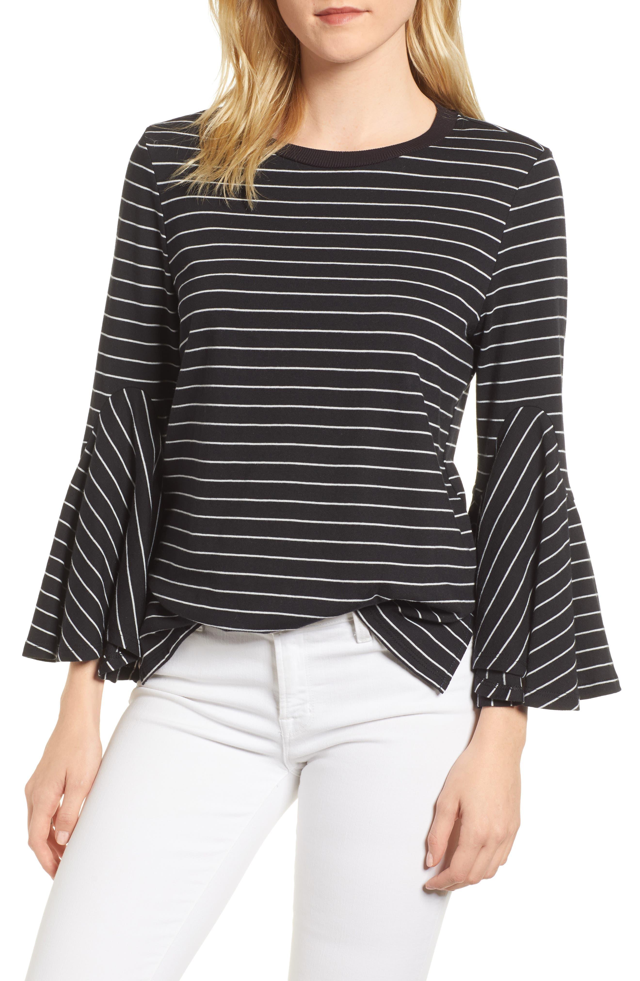 Stripe Bell Sleeve Top,                             Main thumbnail 1, color,                             Black/ White Even Stripe