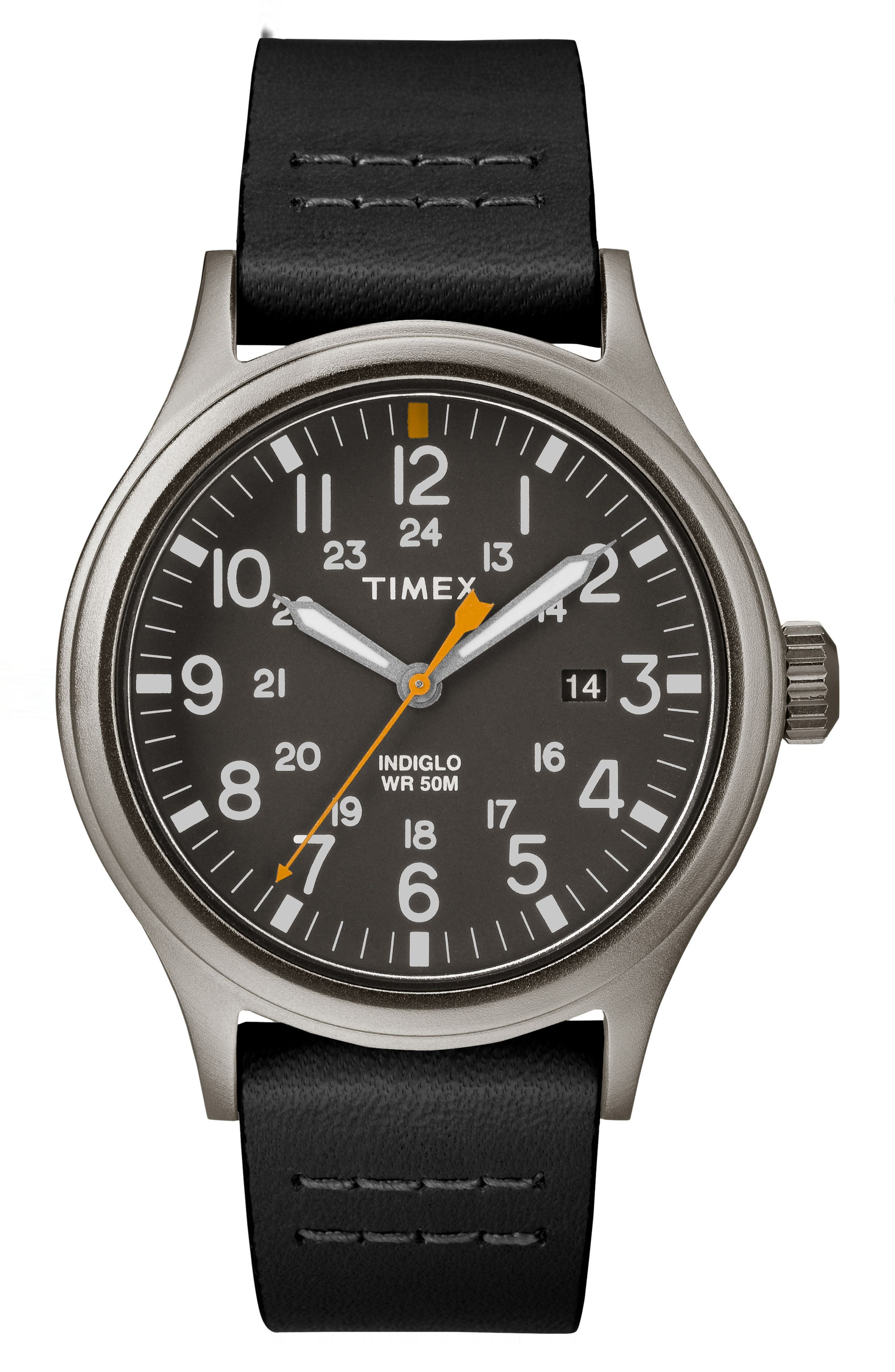Allied Leather Strap Watch, 40mm,                         Main,                         color, Black/ Grey