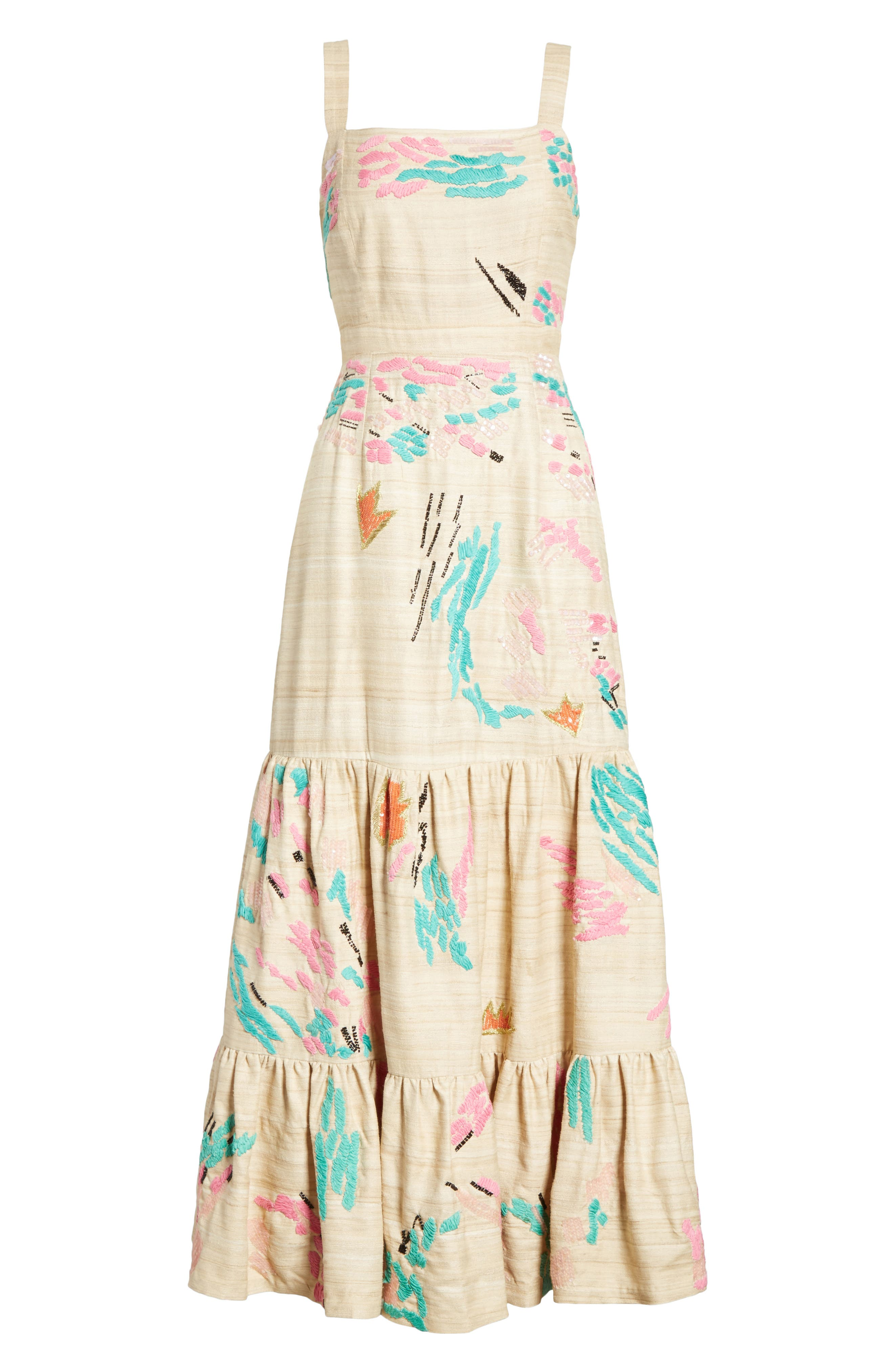 Tiered Silk Embroidered Maxi Dress,                             Alternate thumbnail 6, color,                             Raw Silk