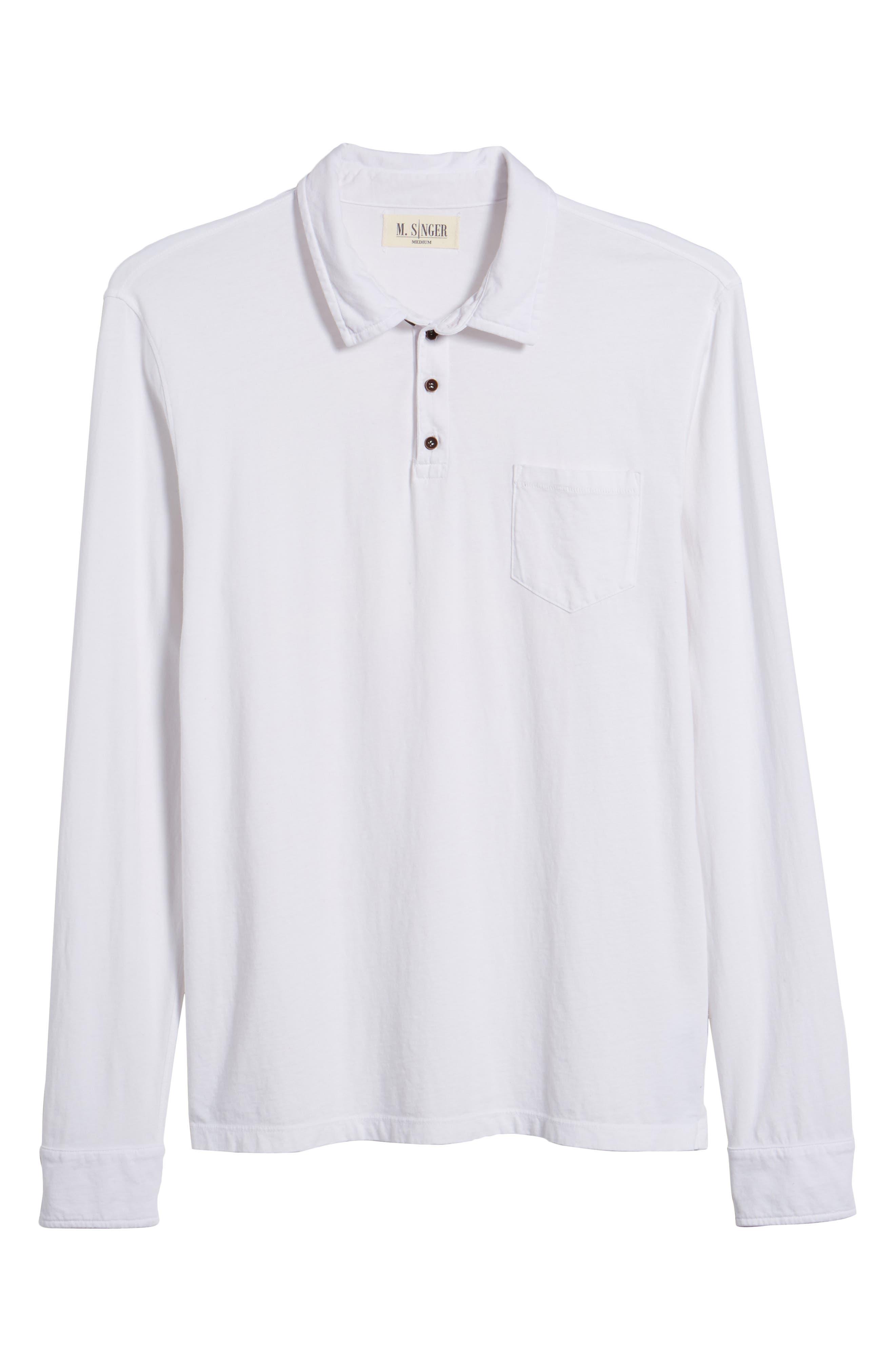 Long Sleeve Jersey Polo,                             Alternate thumbnail 6, color,                             White