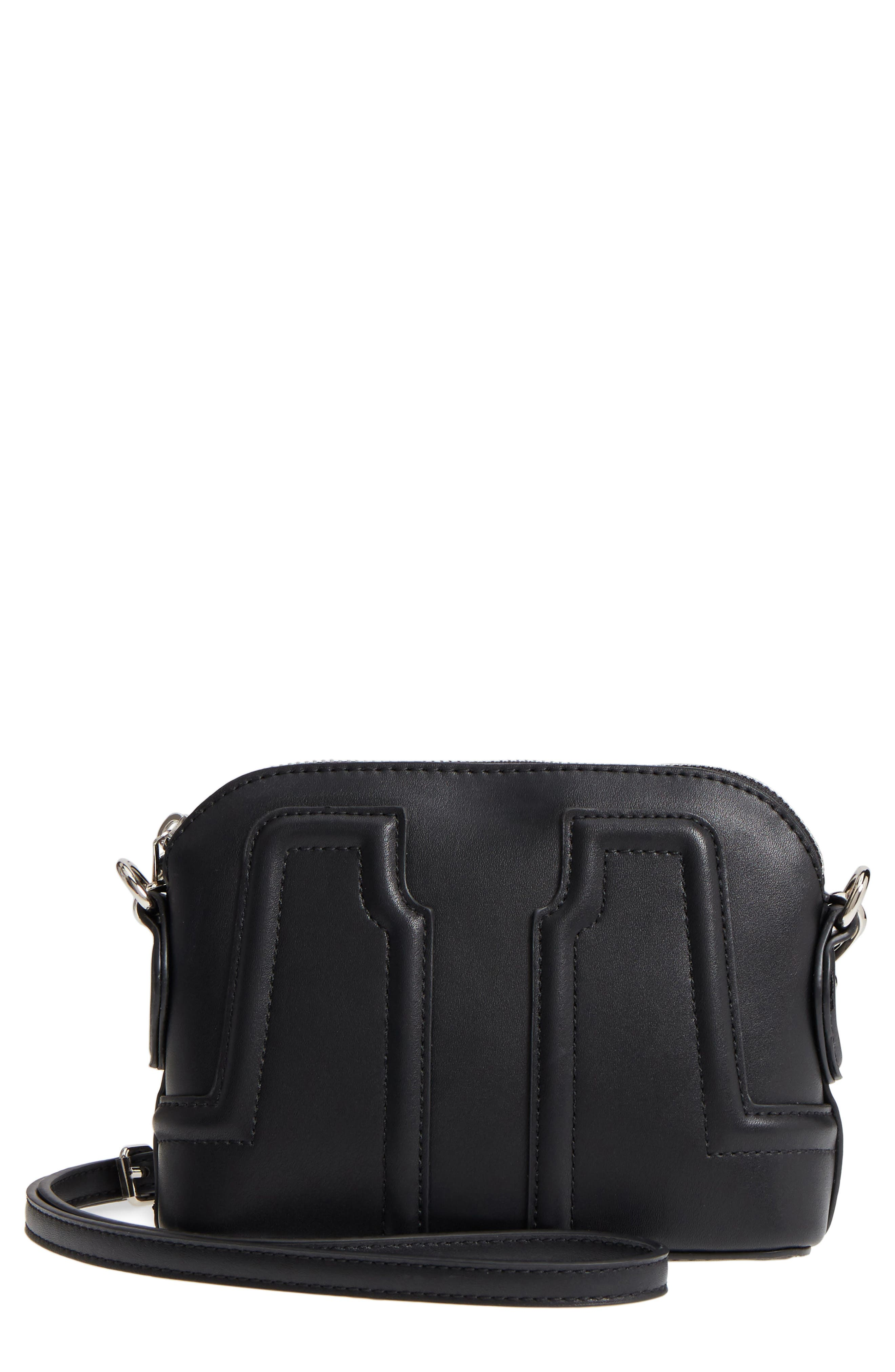 Structured Faux Leather Dome Crossbody,                             Main thumbnail 1, color,                             Black