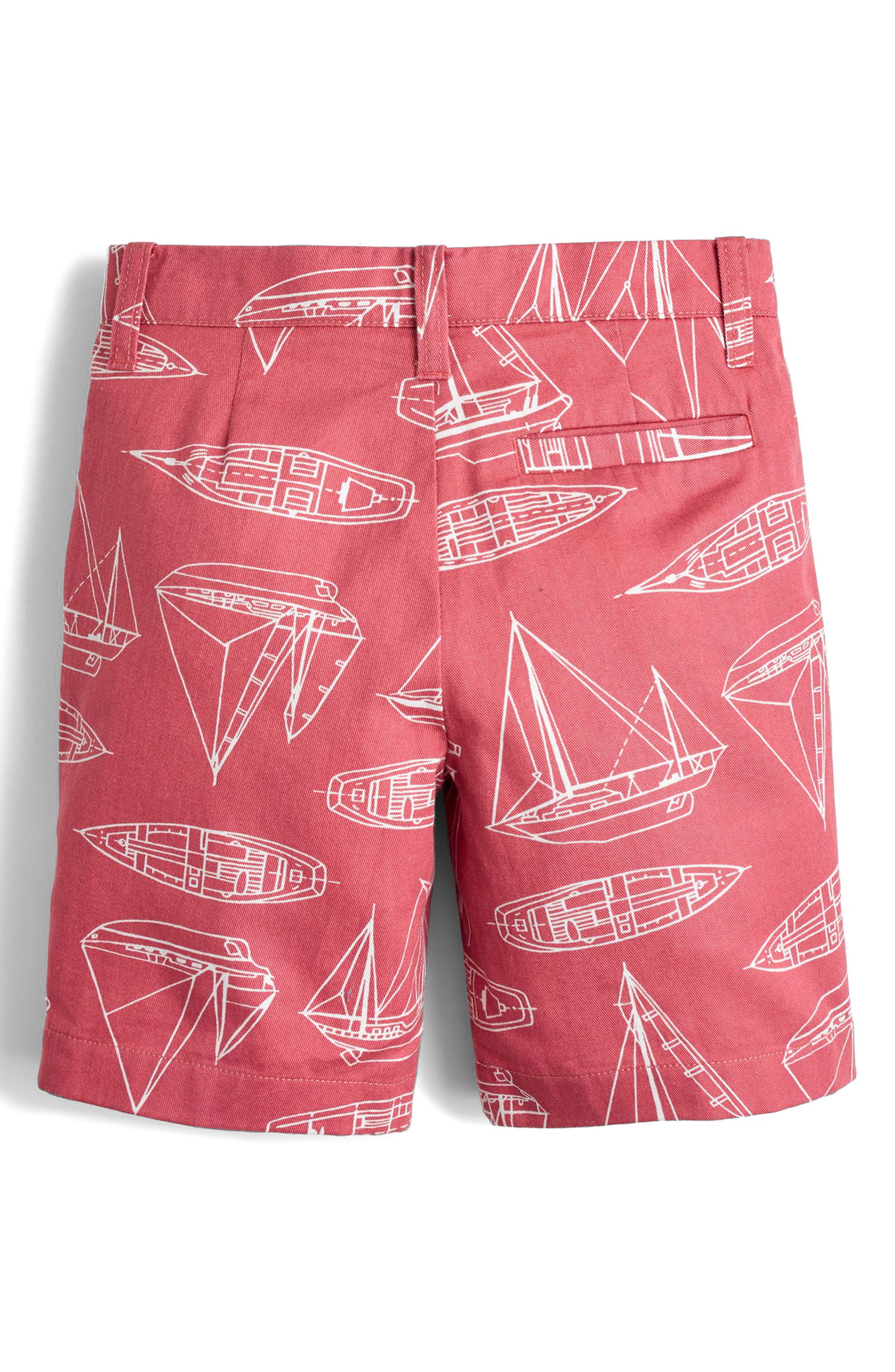 Stanton Boat Print Shorts,                             Alternate thumbnail 2, color,                             Red Boats