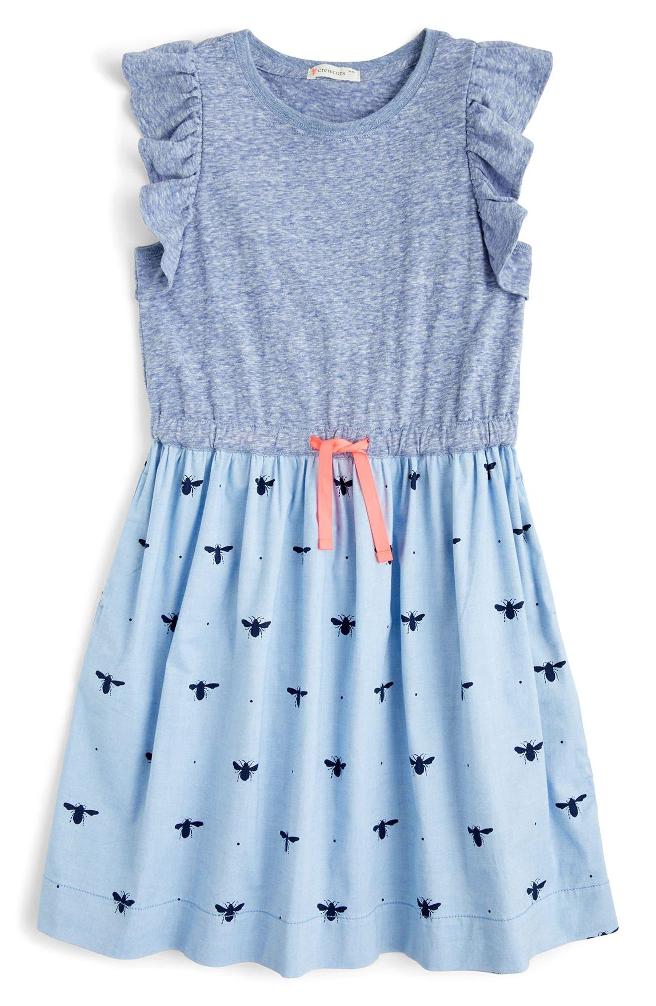 crewcuts by J.Crew Flutter Sleeve Mixed Media Dress (Toddler Girls, Little Girls & Big Girls)
