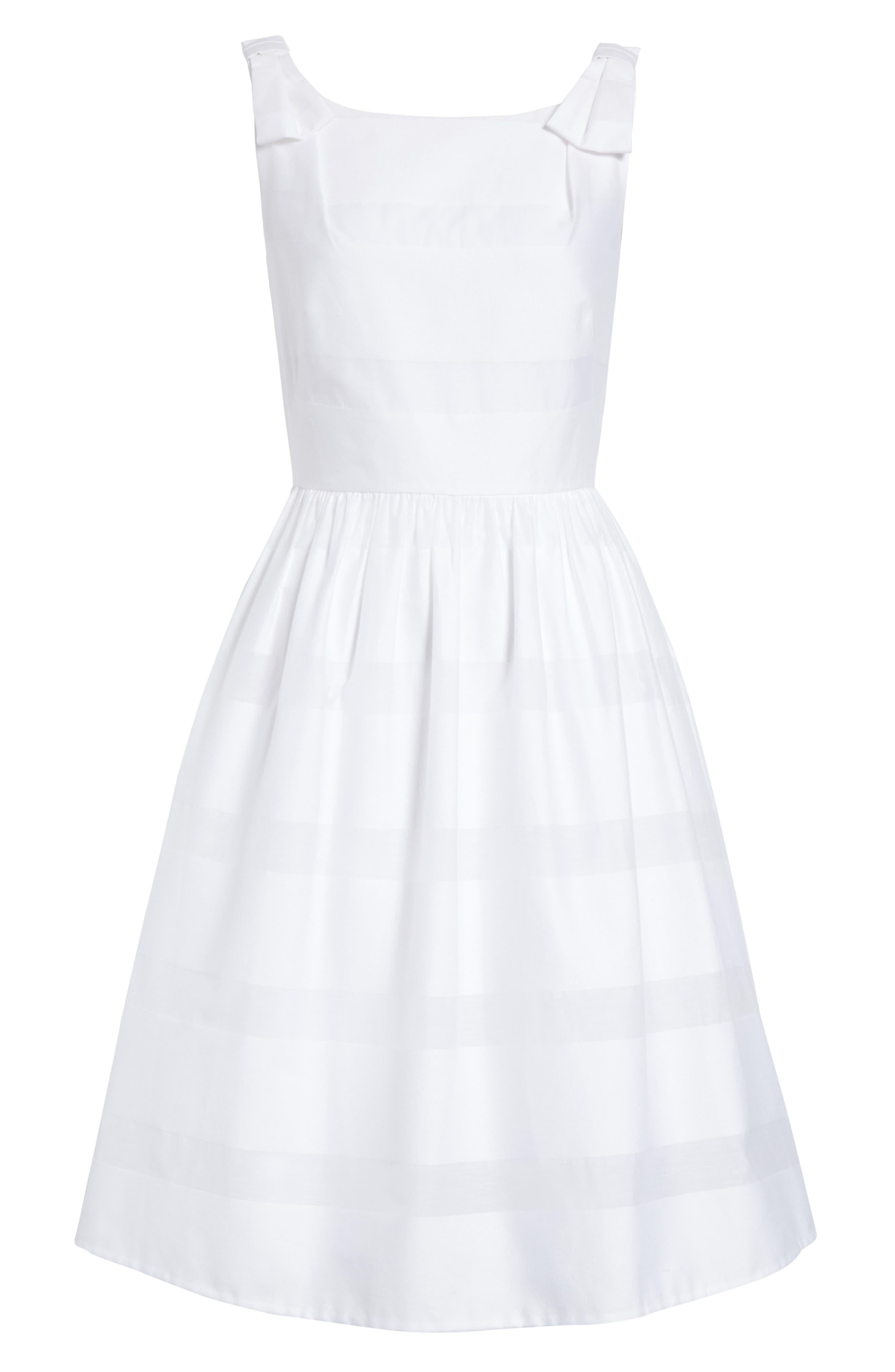 tonal stripe fit & flare dress,                             Alternate thumbnail 6, color,                             Fresh White