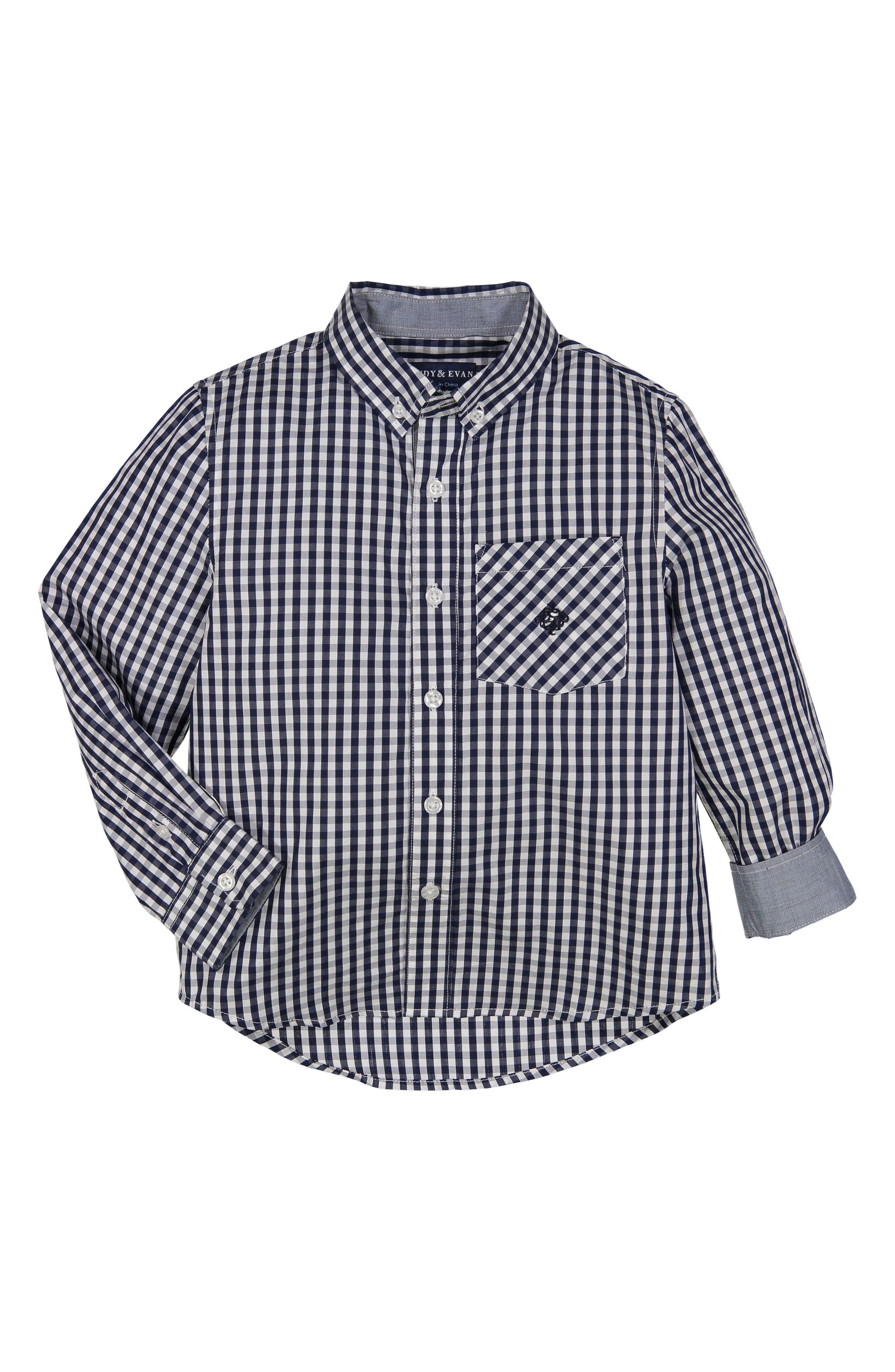 Gingham Check Woven Shirt,                         Main,                         color, Navy