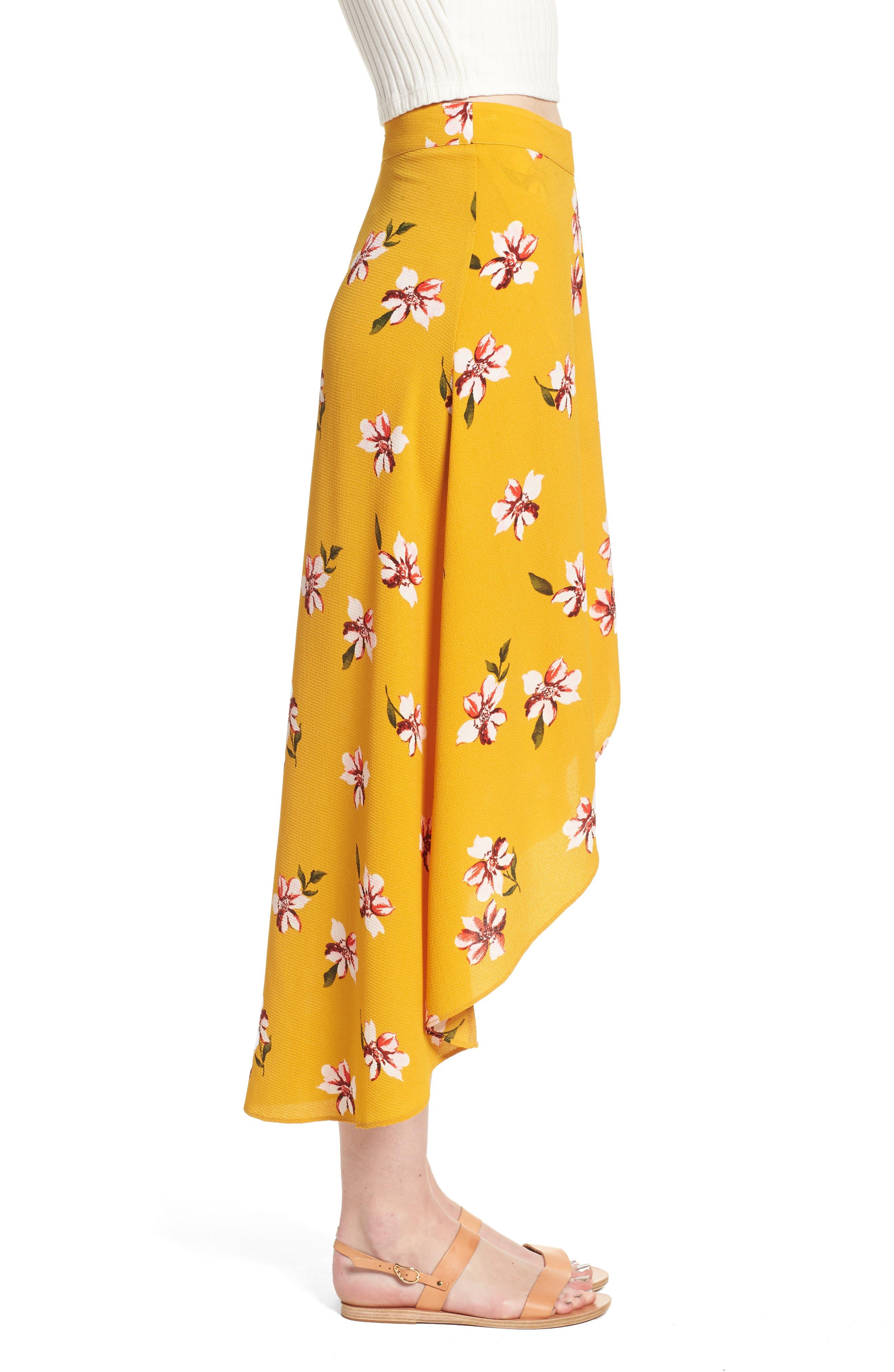 Floral Surplice Skirt,                             Alternate thumbnail 4, color,                             Mustard Floral