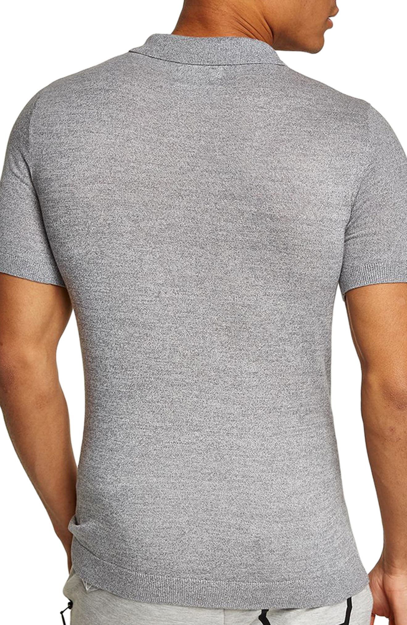 Muscle Fit Jersey Polo,                             Alternate thumbnail 2, color,                             Light Grey