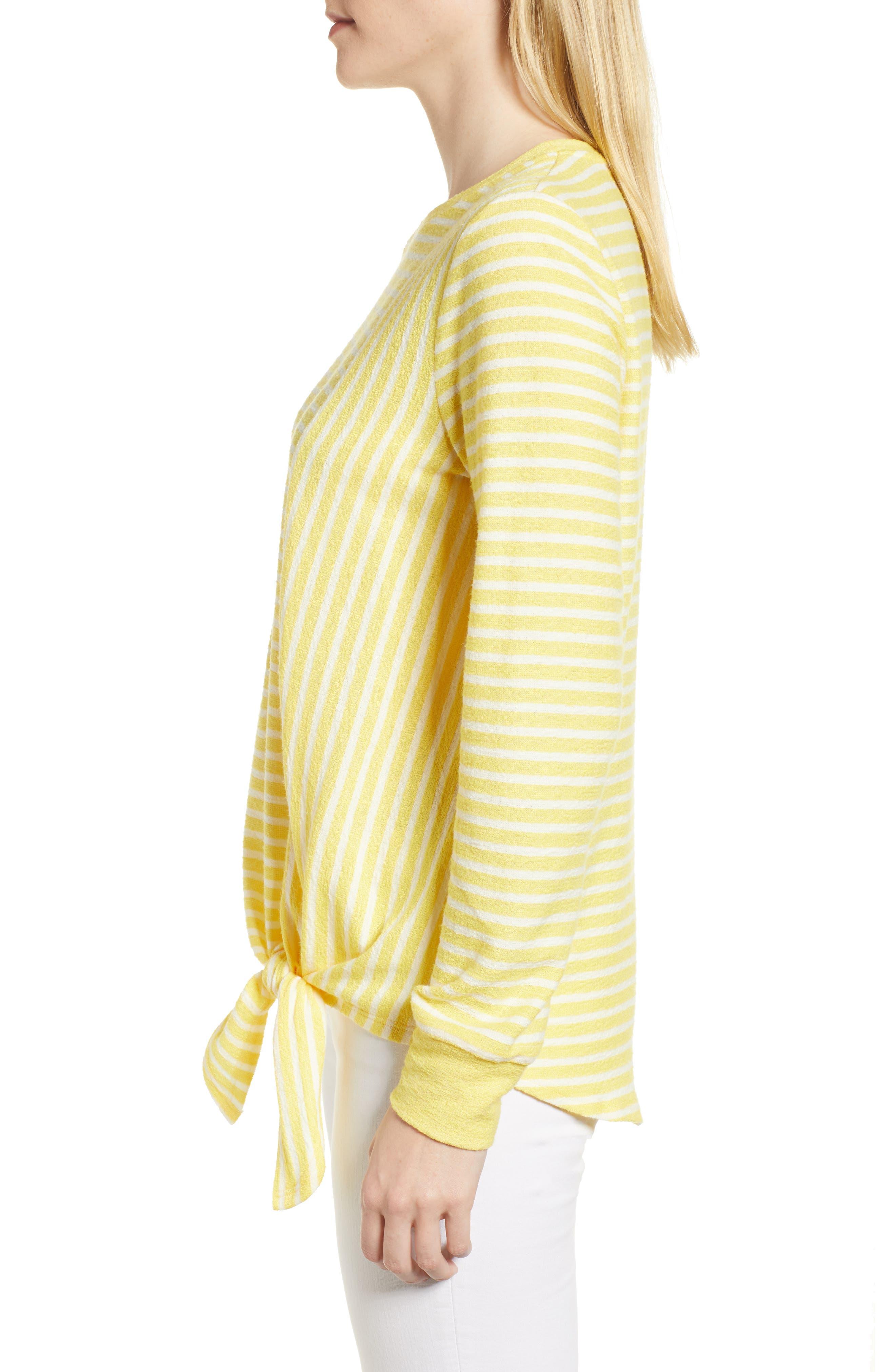 Tie Front Stripe Top,                             Alternate thumbnail 3, color,                             Yellow/ White Stripe