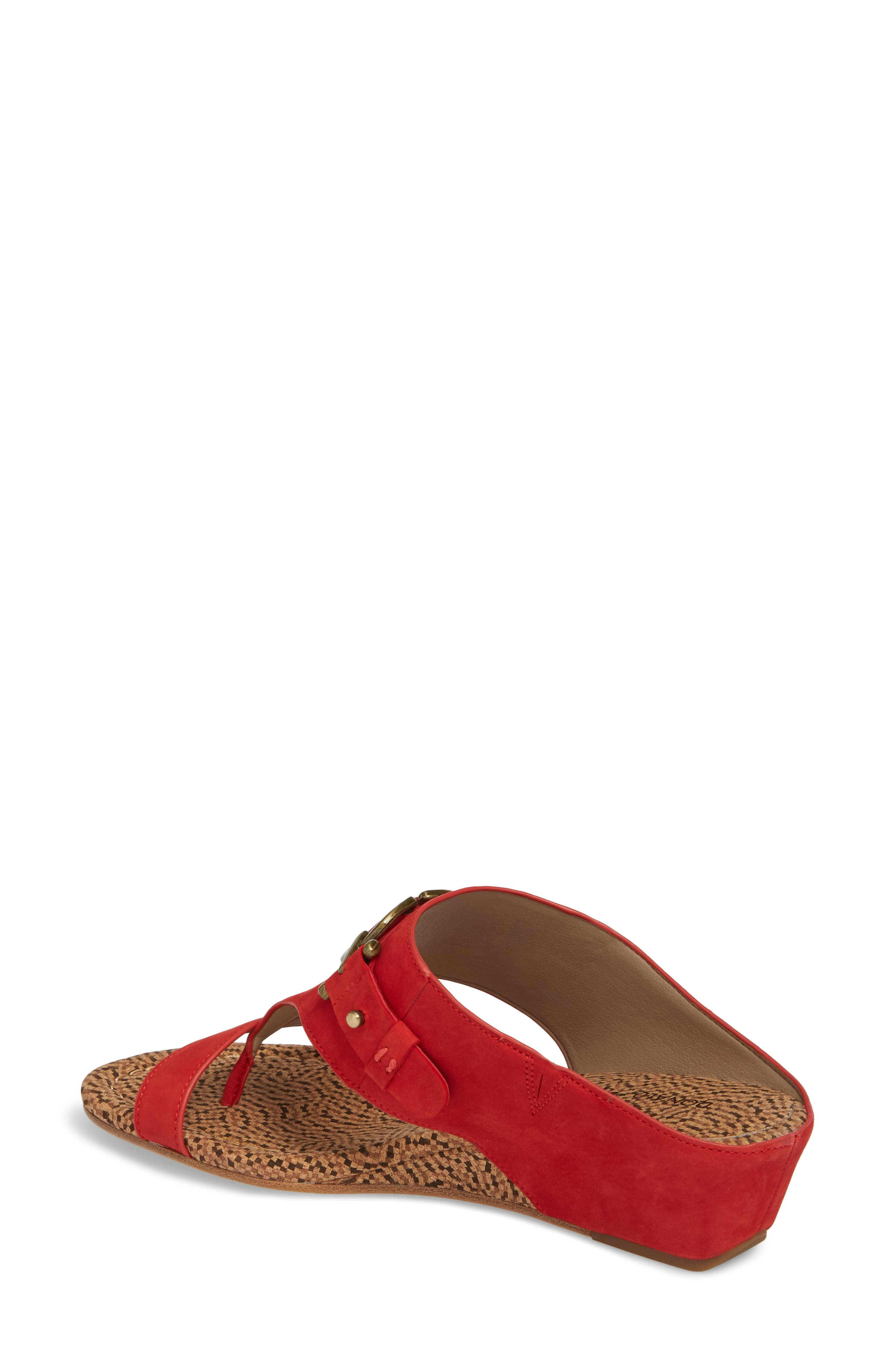 Dayna Wedge Sandal,                             Alternate thumbnail 2, color,                             Poppy Leather