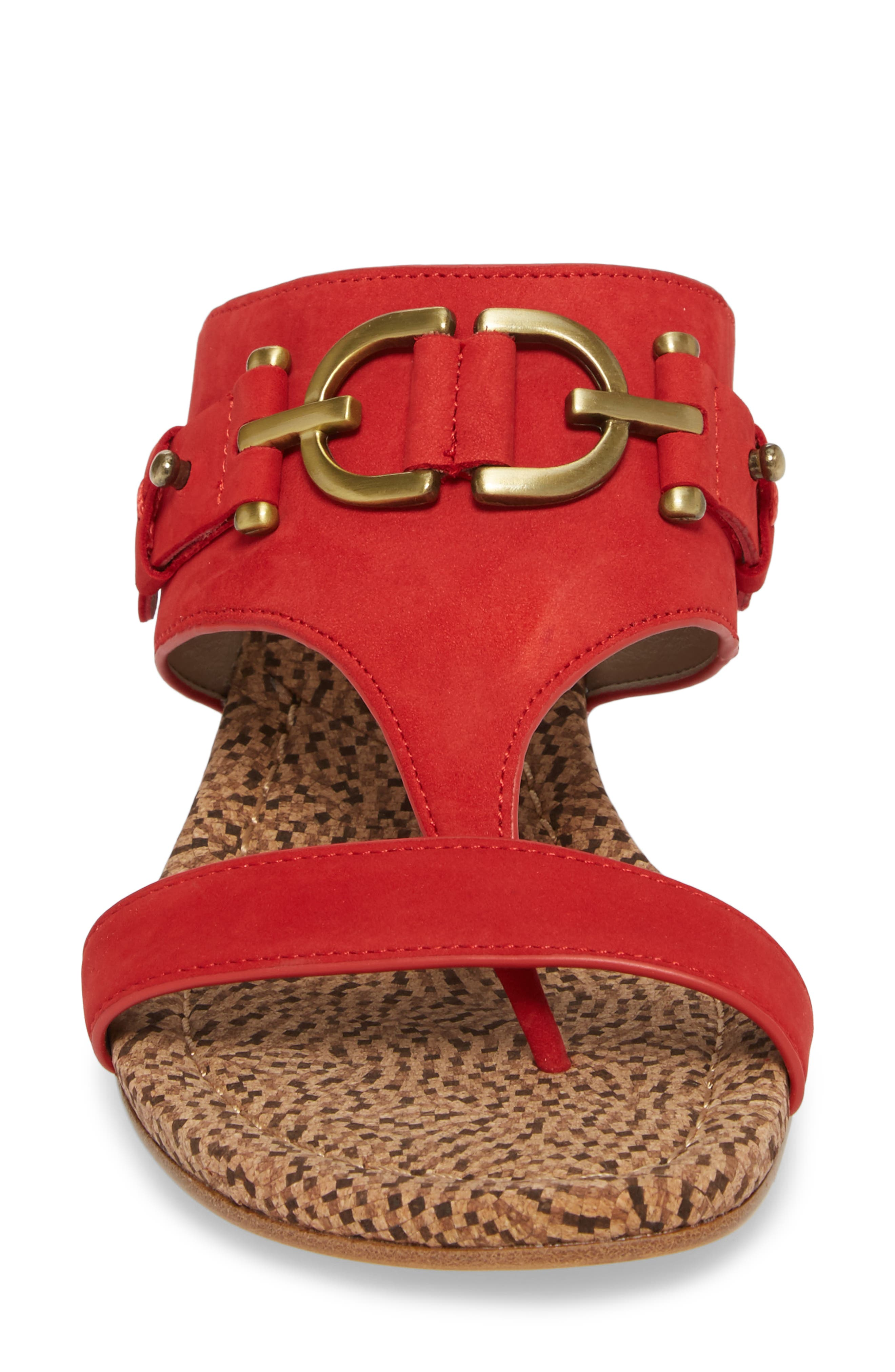 Dayna Wedge Sandal,                             Alternate thumbnail 4, color,                             Poppy Leather