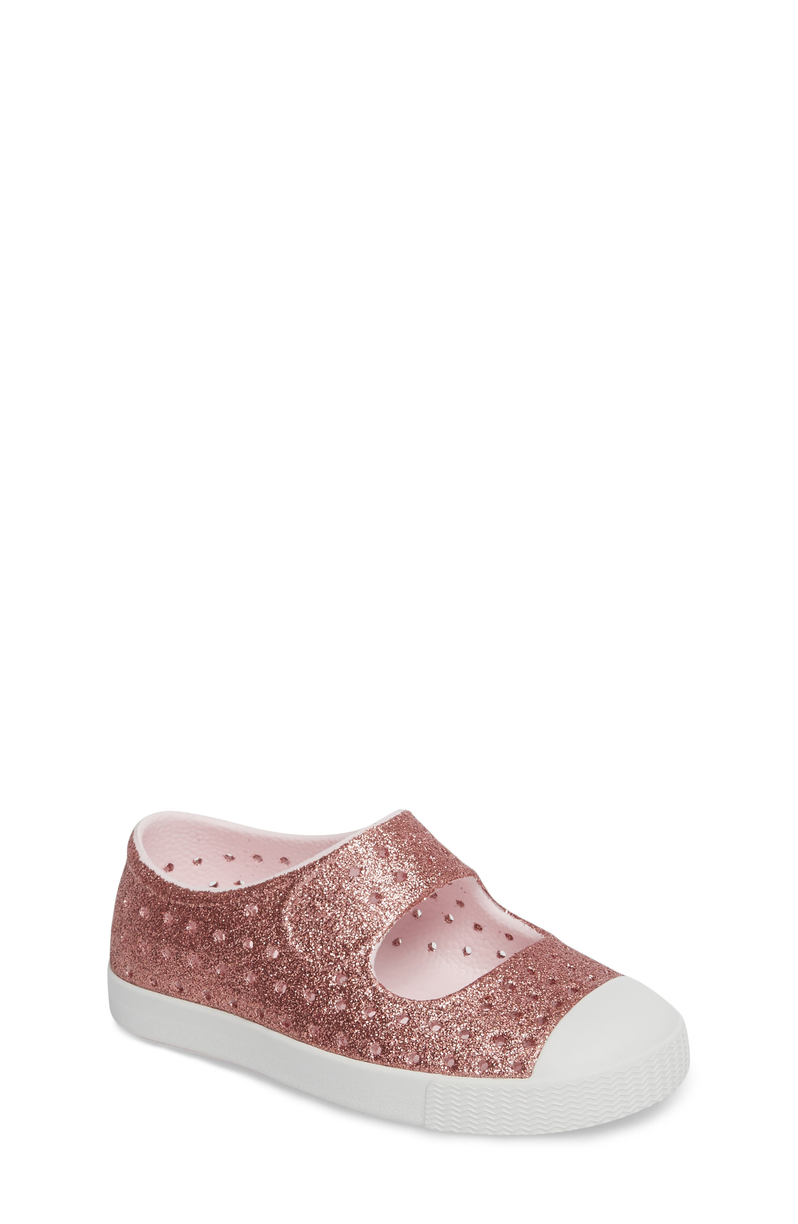 Main Image - Native Shoes Juniper Bling Glitter Perforated Mary Jane (Baby, Walker, Toddler & Little Kid)