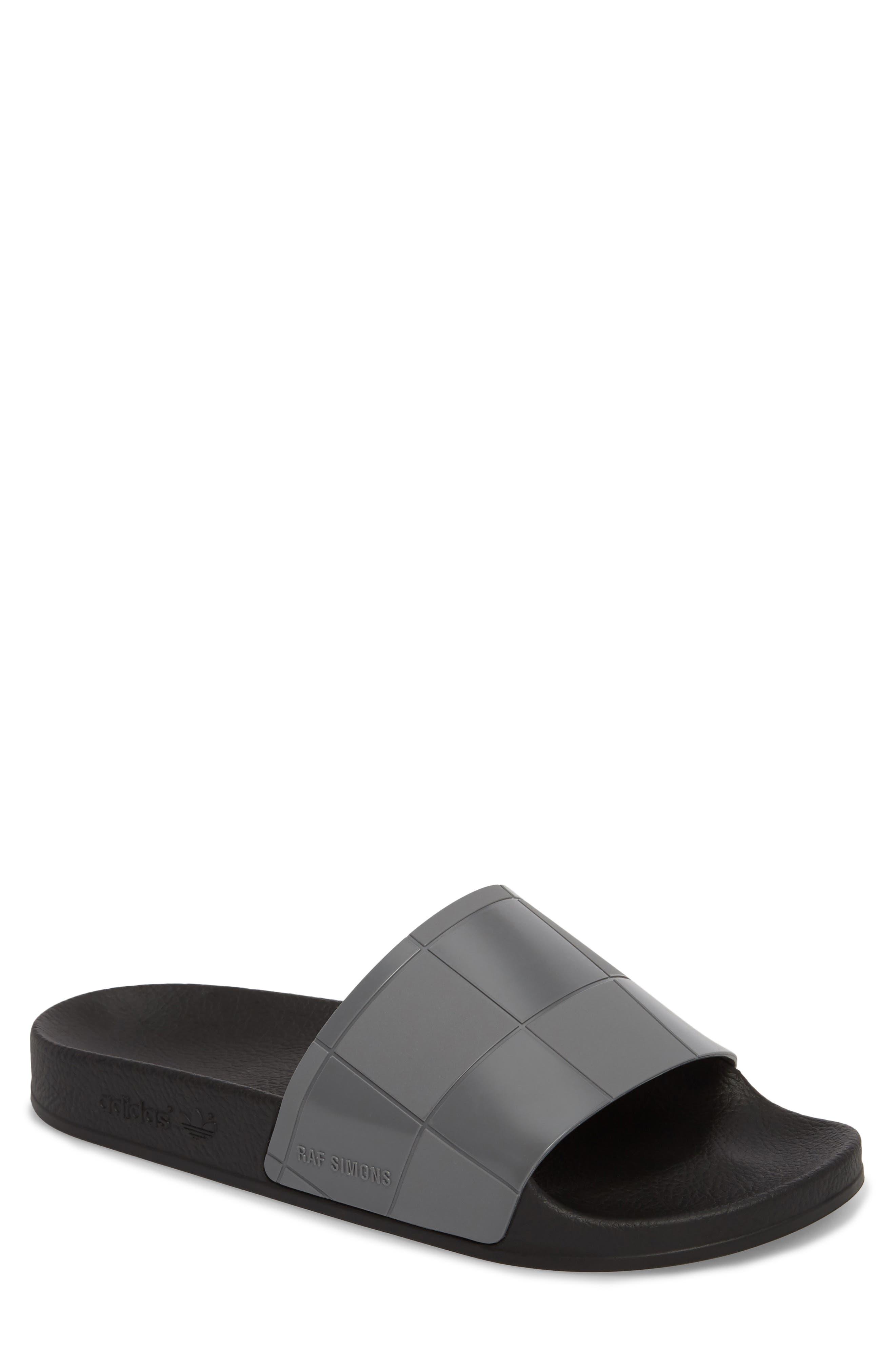 Adilette Checkerboard Sport Slide,                         Main,                         color, Core Black/ Granite