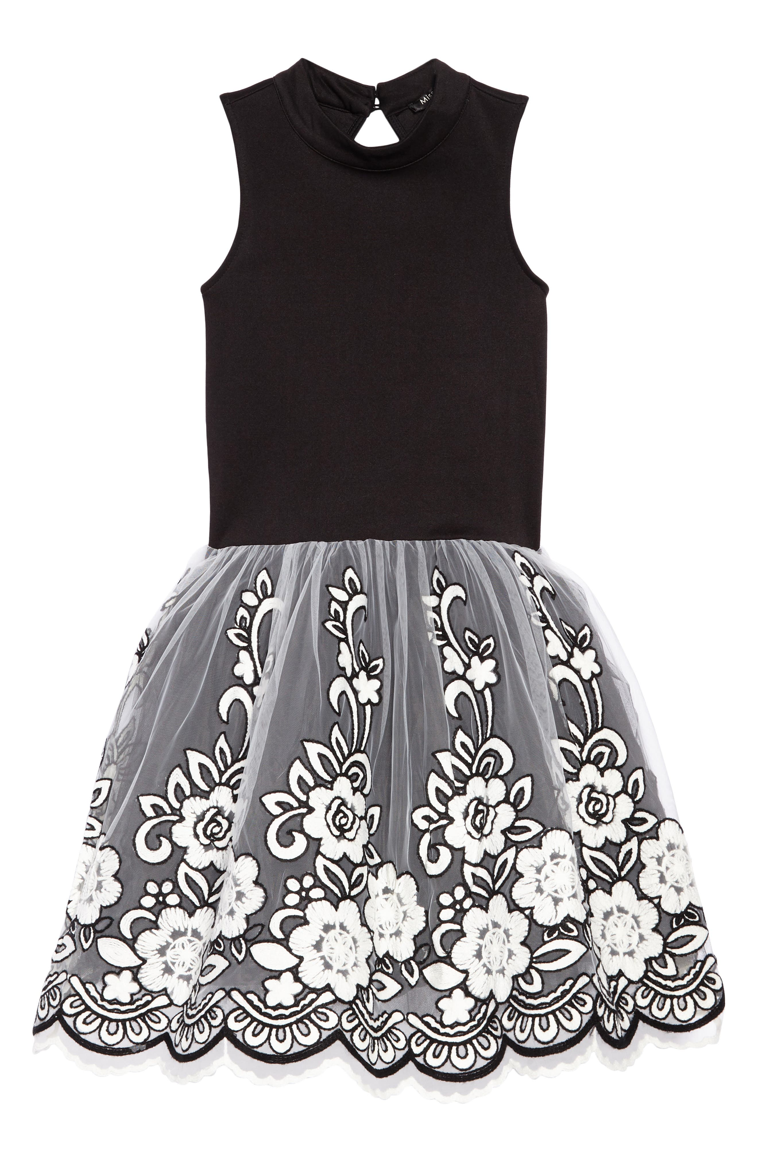 Grace Embroidered Tulle Dress,                         Main,                         color, Black