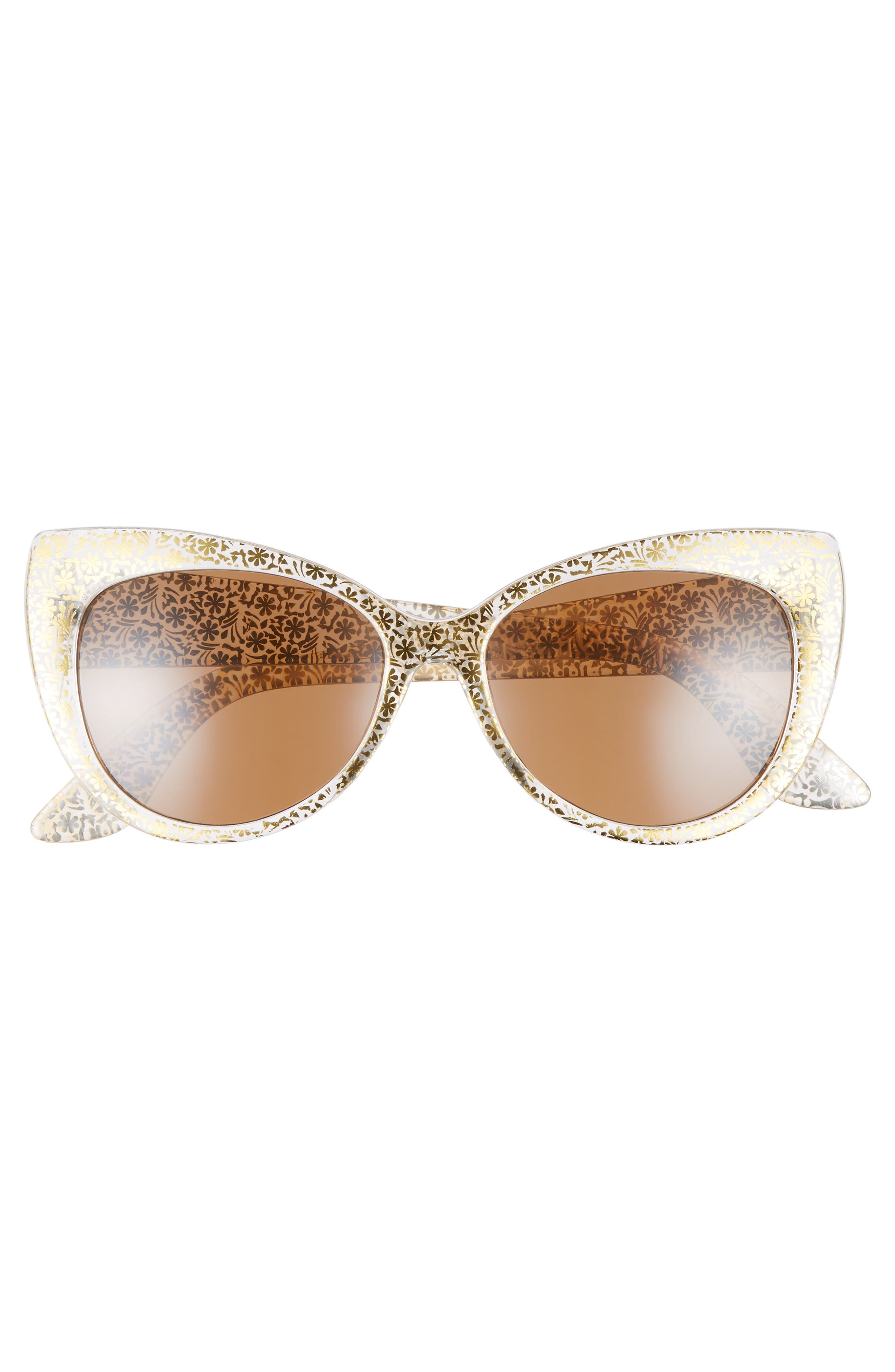 55mm Floral Cat Eye Sunglasses,                             Alternate thumbnail 3, color,                             Gold/ Gold