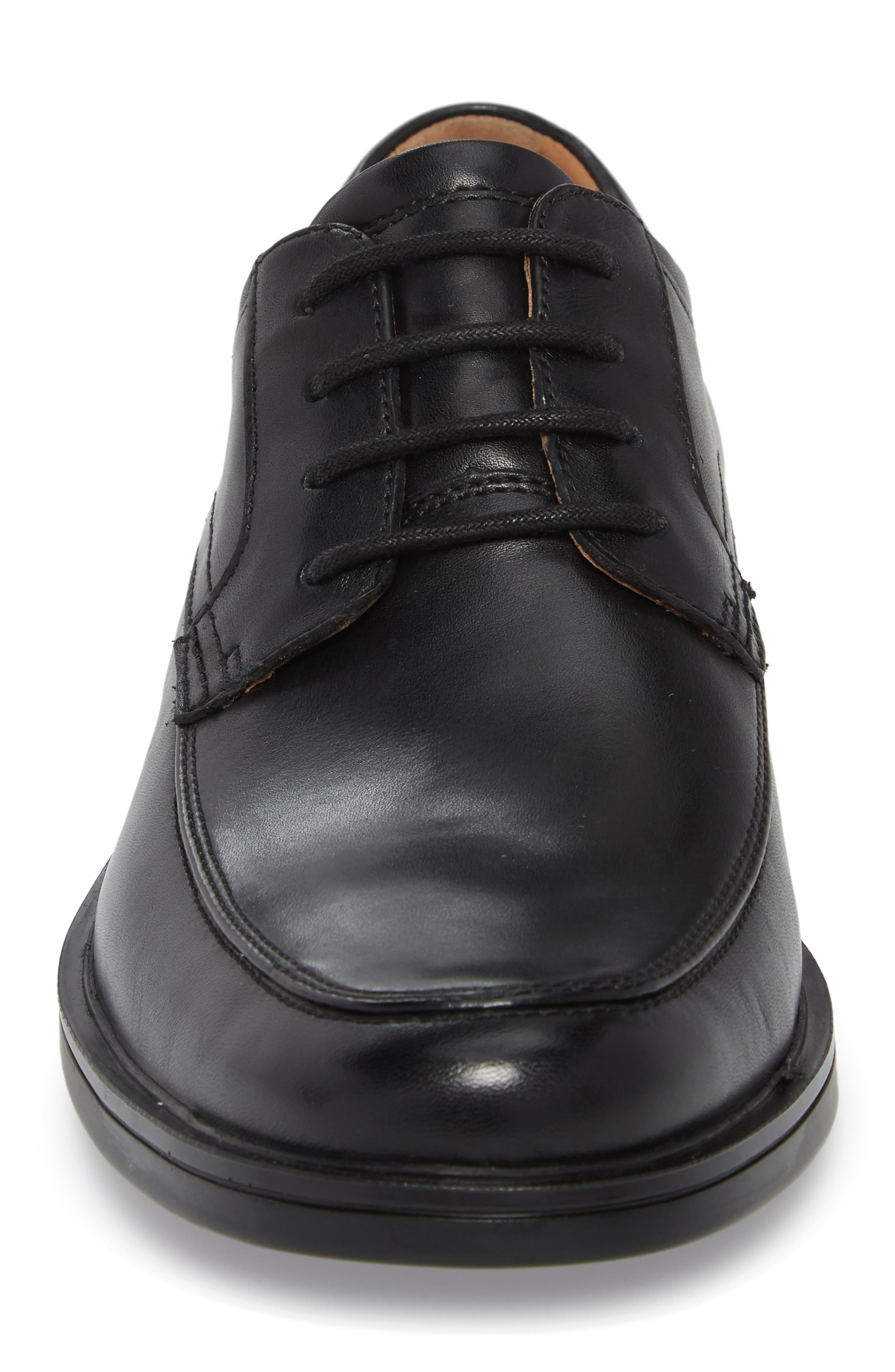 Unaldric Moc Toe Derby,                             Alternate thumbnail 4, color,                             Black Leather