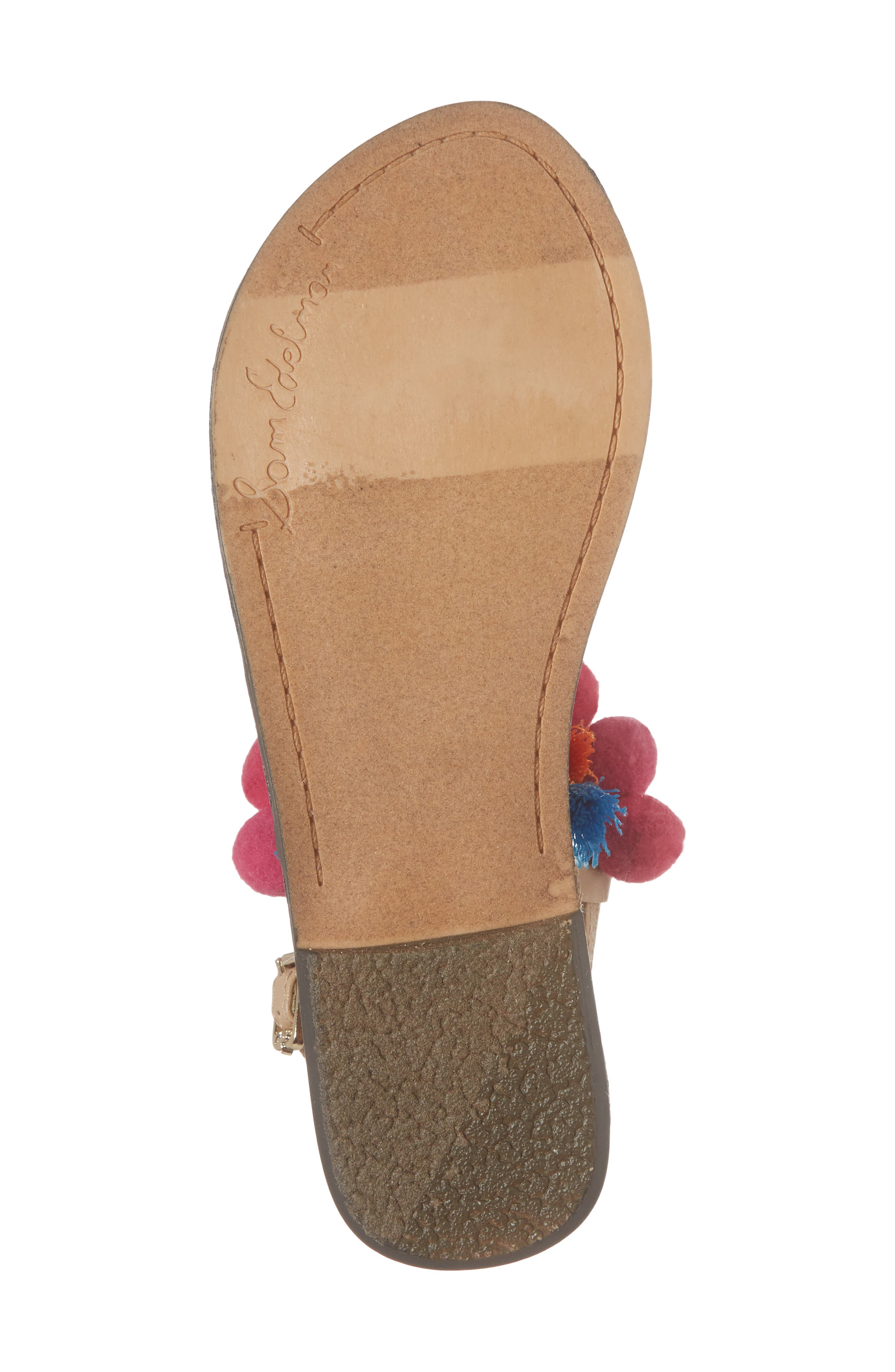 Gigi Embellished Thong Sandal,                             Alternate thumbnail 6, color,                             Natural Faux Leather