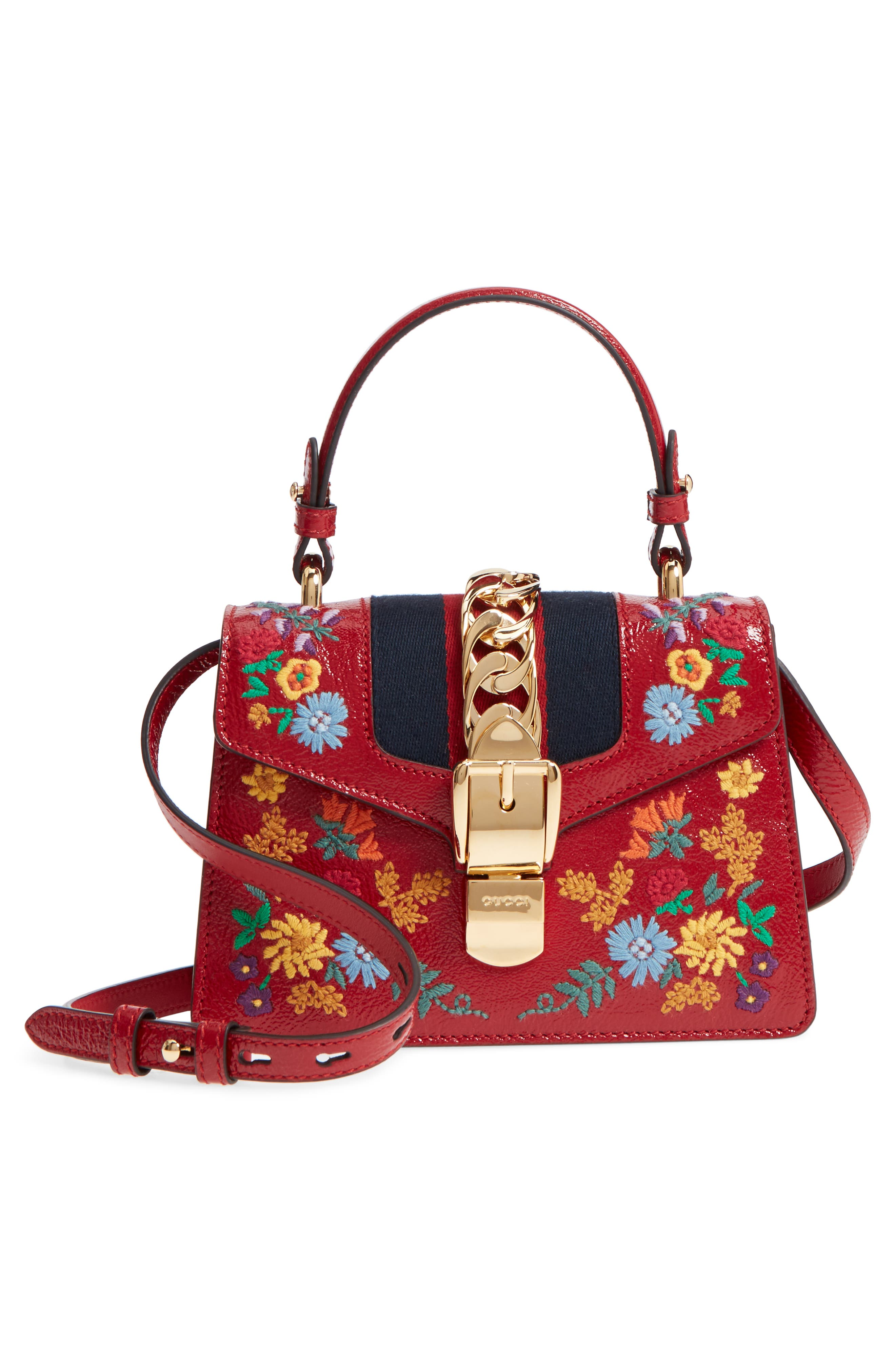 Mini Sylvie Flower Embroidery Leather Shoulder Bag,                             Alternate thumbnail 3, color,                             Hibiscus Red Multi/ Blue