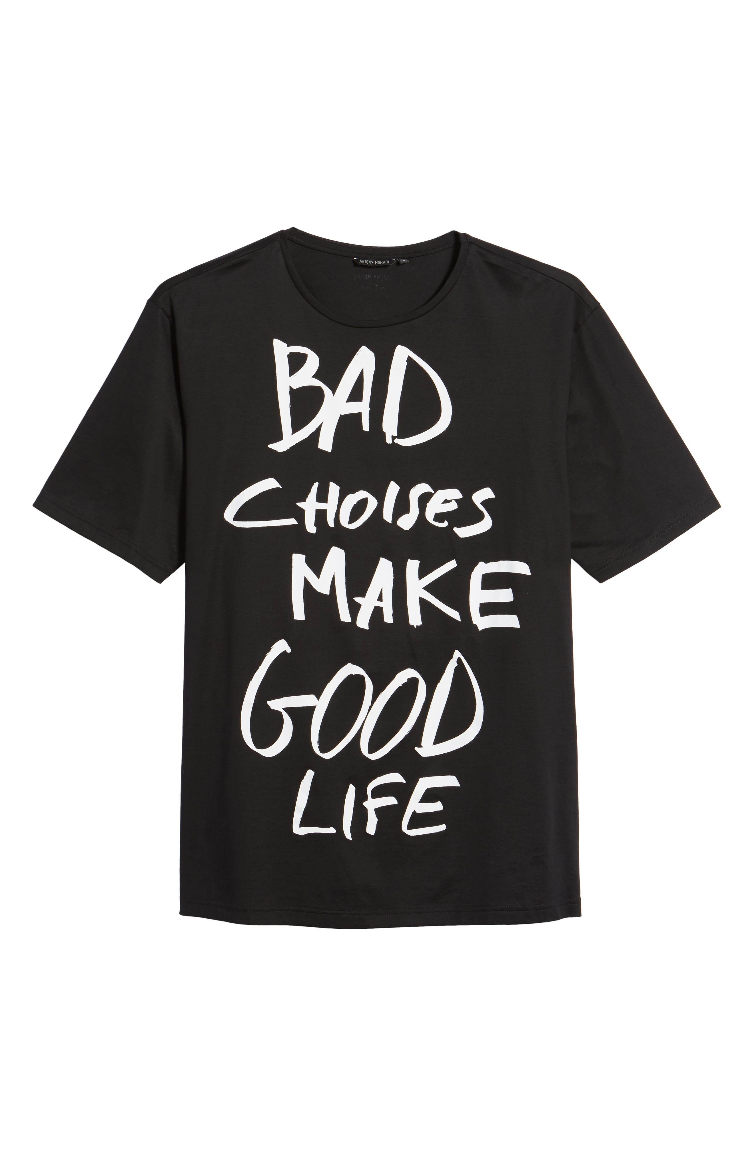 Bad Choices Graphic T-Shirt,                             Alternate thumbnail 6, color,                             Black