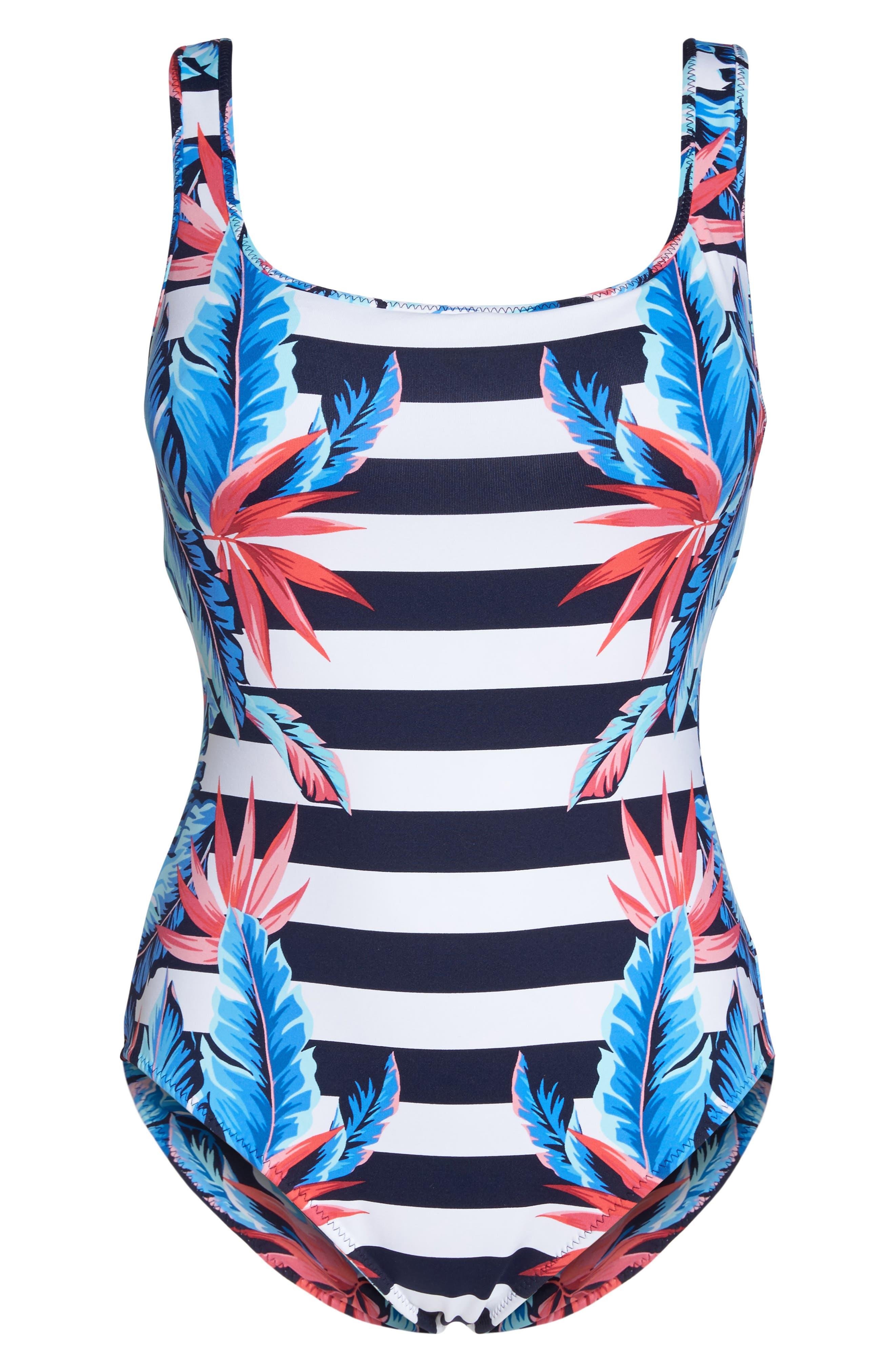 Palms of Paradise Reversible One-Piece Swimsuit,                             Alternate thumbnail 7, color,                             Mare Blue