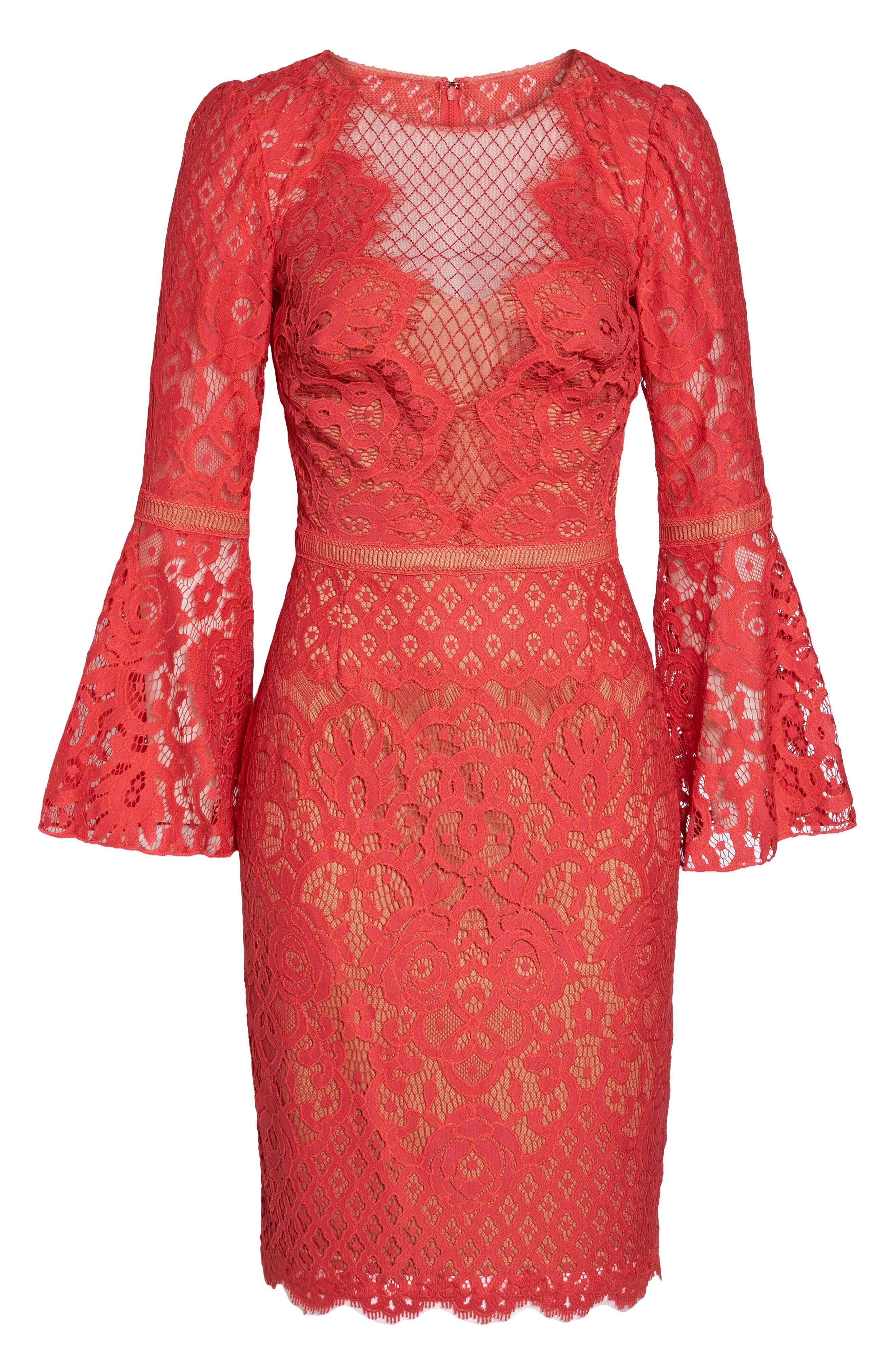 Kyra Bell Sleeve Lace Dress,                             Alternate thumbnail 6, color,                             Red/ Jasper