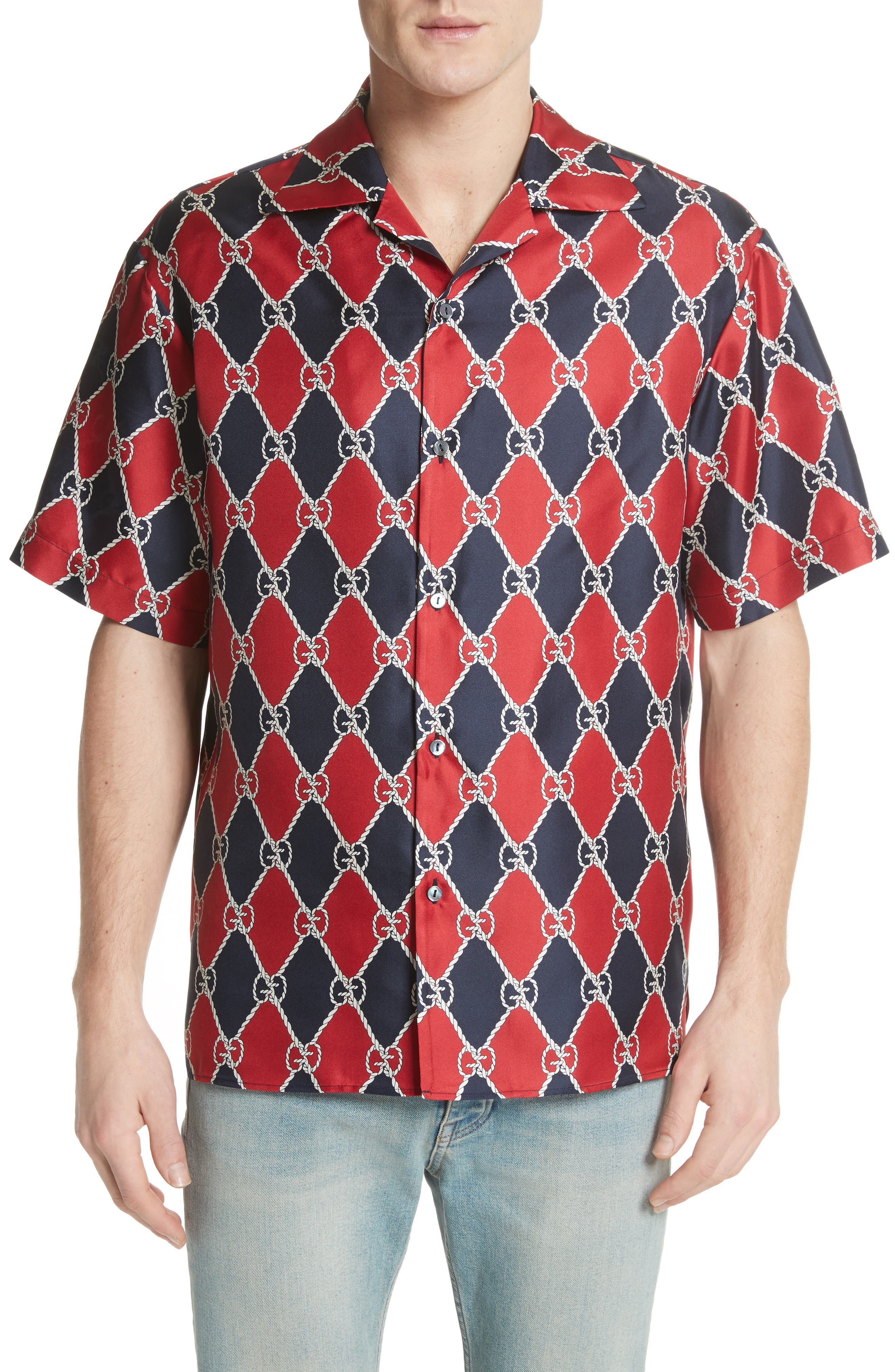 Gucci Rope Logo Silk Camp Shirt