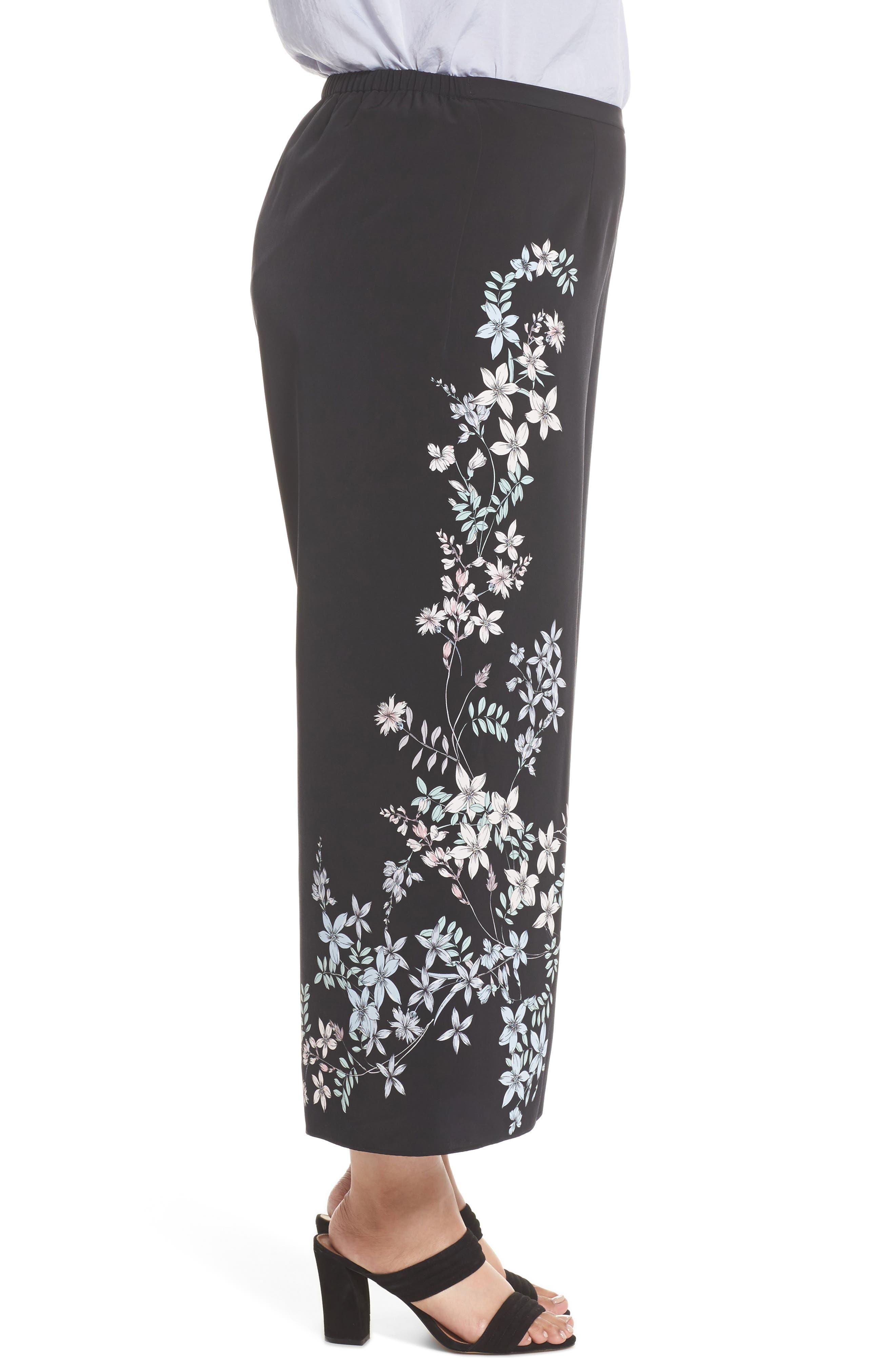 Botanical Wide Leg Pants,                             Alternate thumbnail 3, color,                             Rich Black