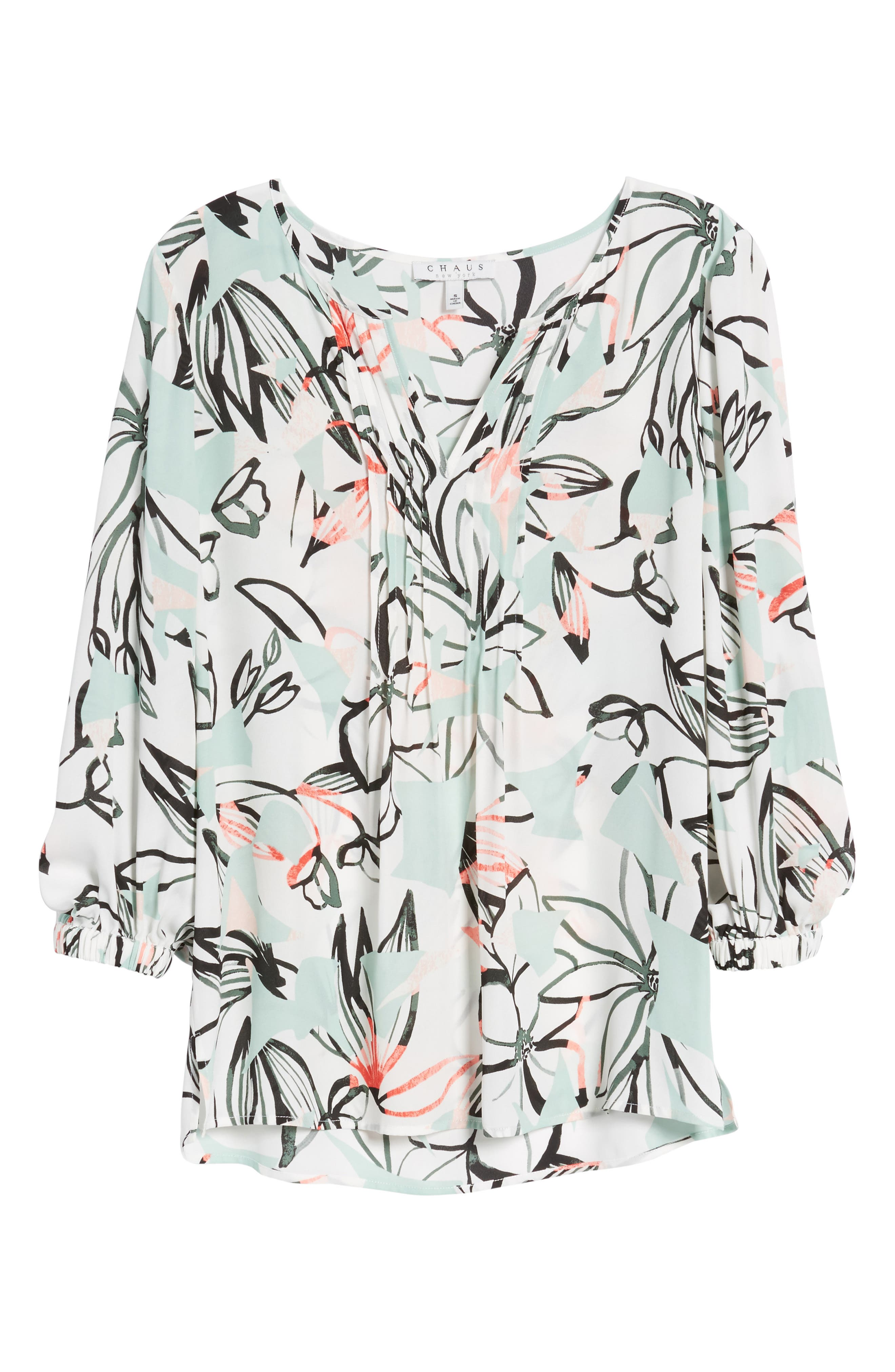 Jungle Collage Pintuck Blouse,                             Alternate thumbnail 7, color,                             103-New Ivory