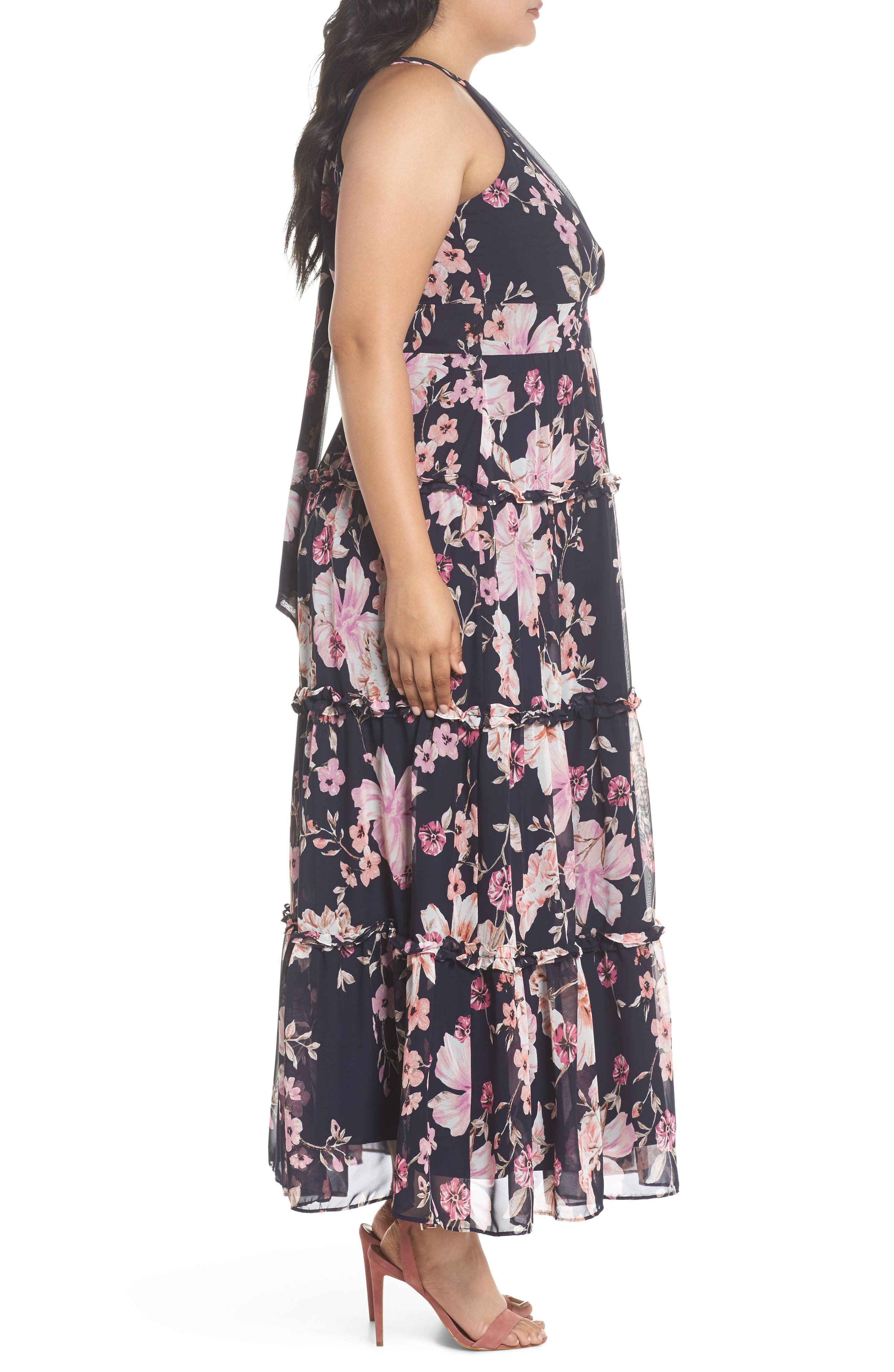 Floral Ruffle Trim Chiffon Halter Maxi Dress,                             Alternate thumbnail 3, color,                             Navy/ Pink